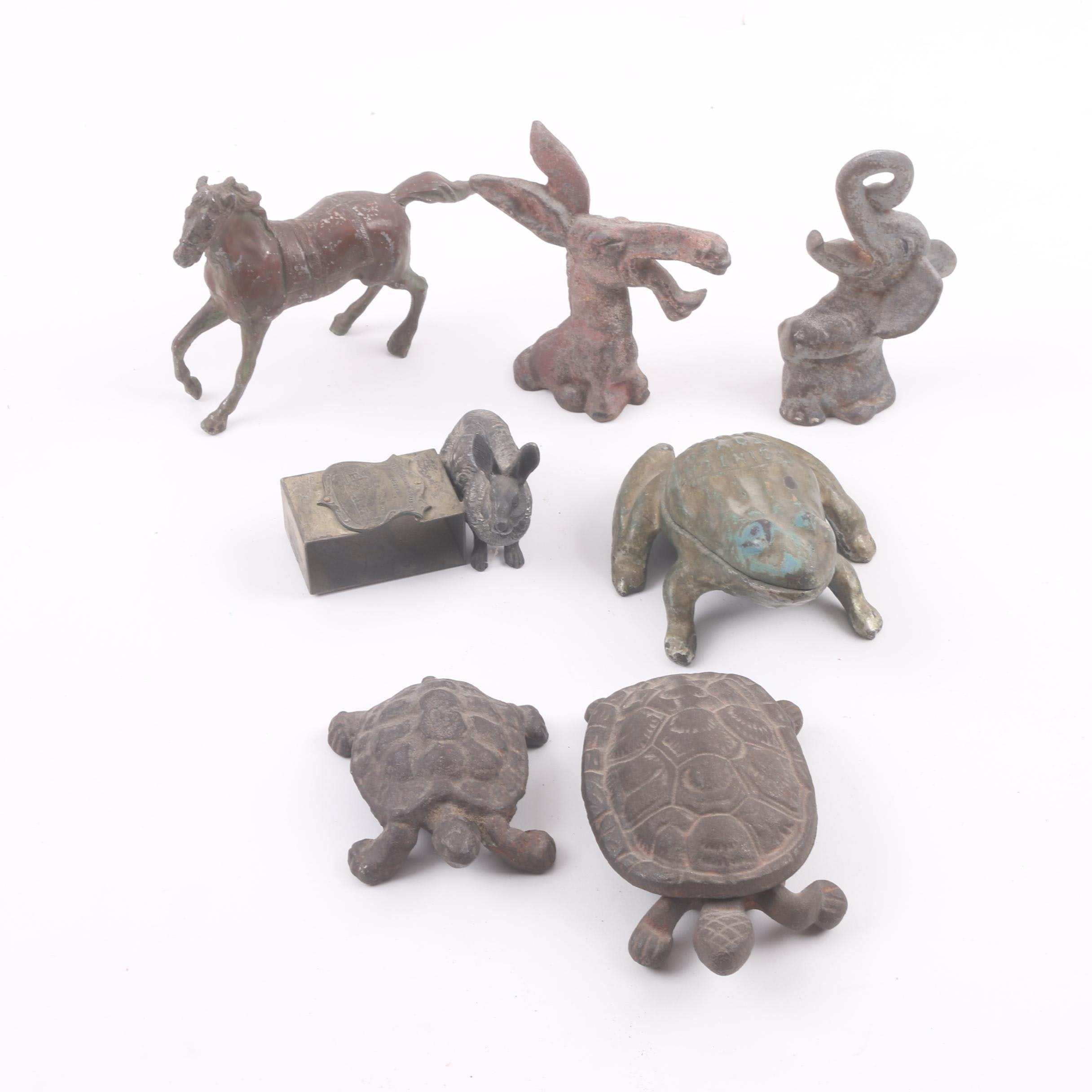 Vintage Cast Iron and Metal Animal Themed Figurines, Match Safe, Frog Box