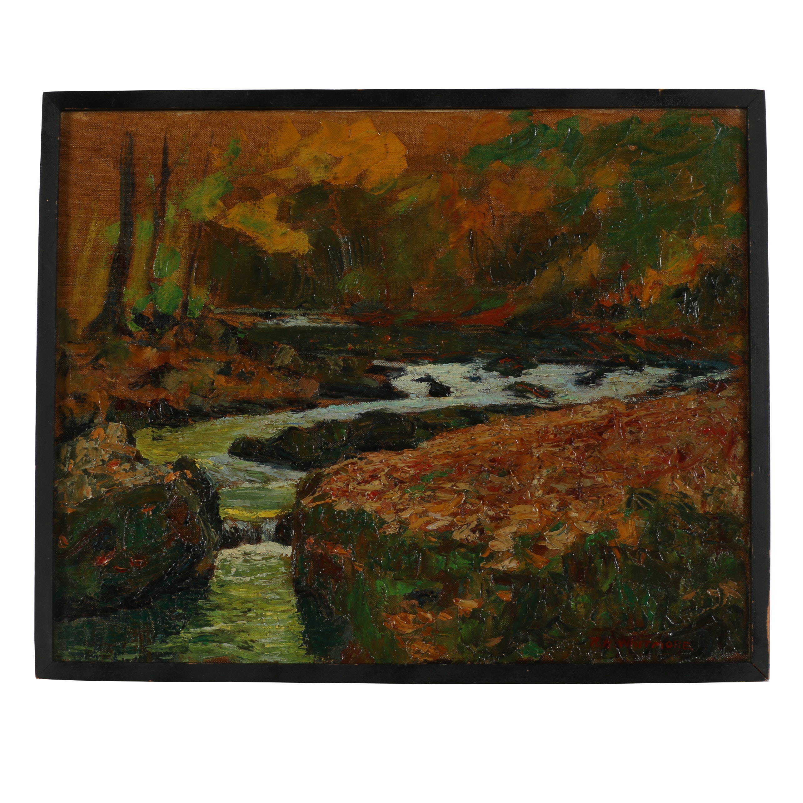 "Robert Whitmore Oil Painting ""Untitled (Little Miami River, Clifton Gorge)"""
