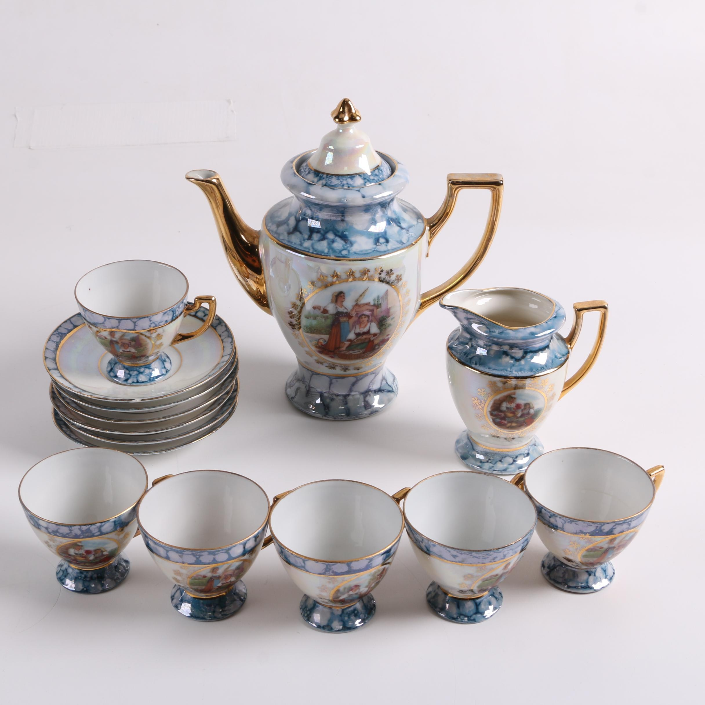 Vintage German Lusterware Porcelain Demitasse Set