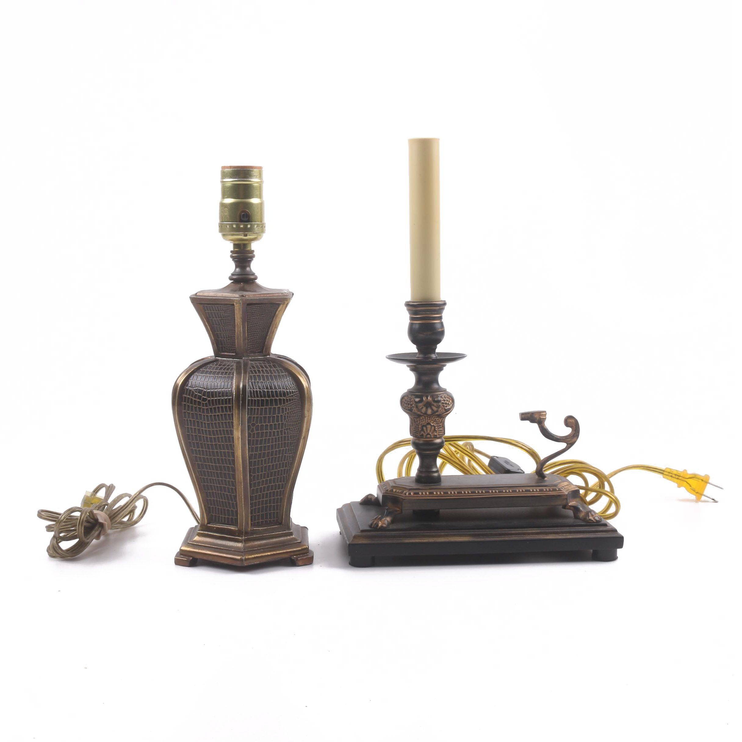 Brass Table Lamp with Faux Skin Textures and Candlestick Style Lamp