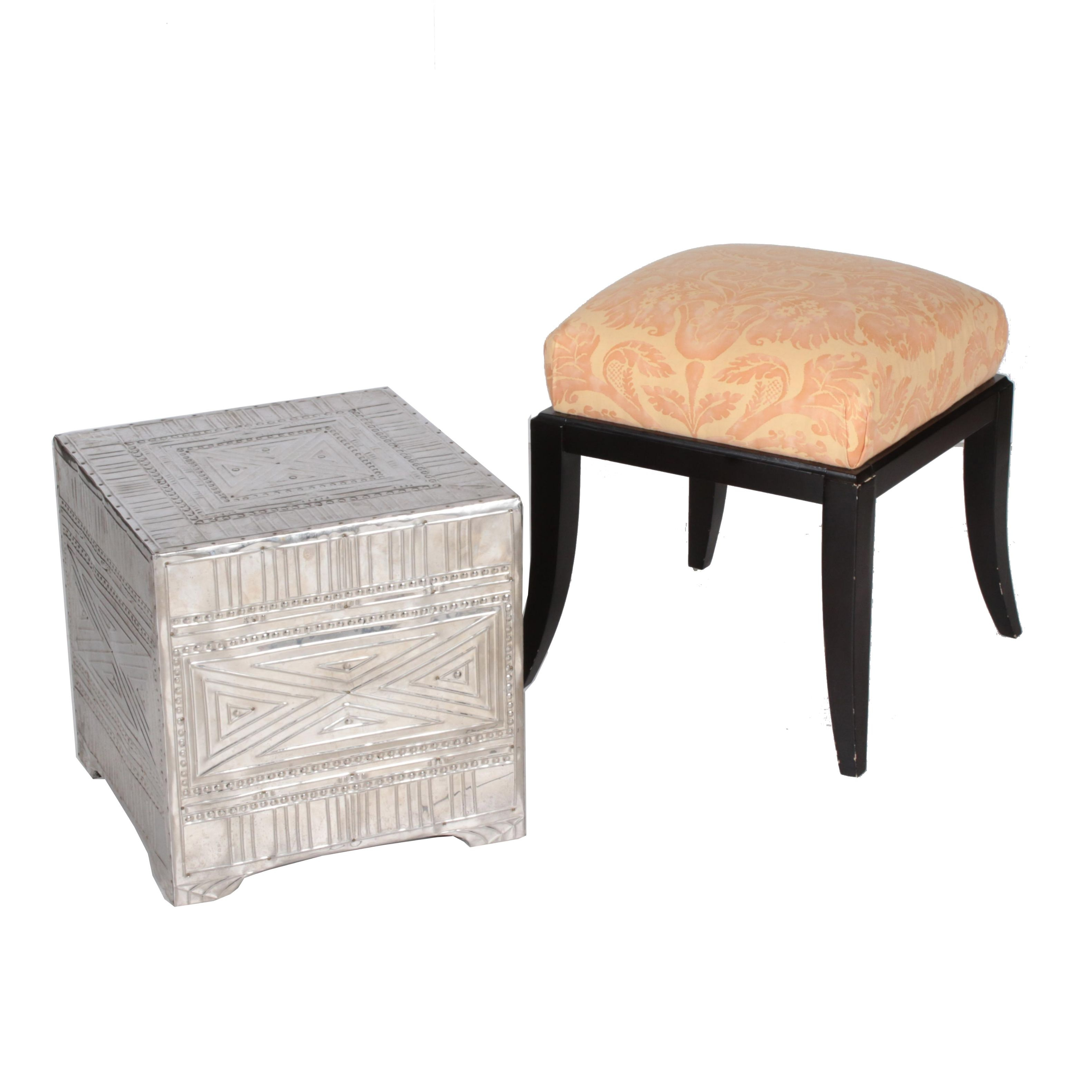 Regency Style Ebonized Footstool with Metal-Lined Cube-Form Side Table