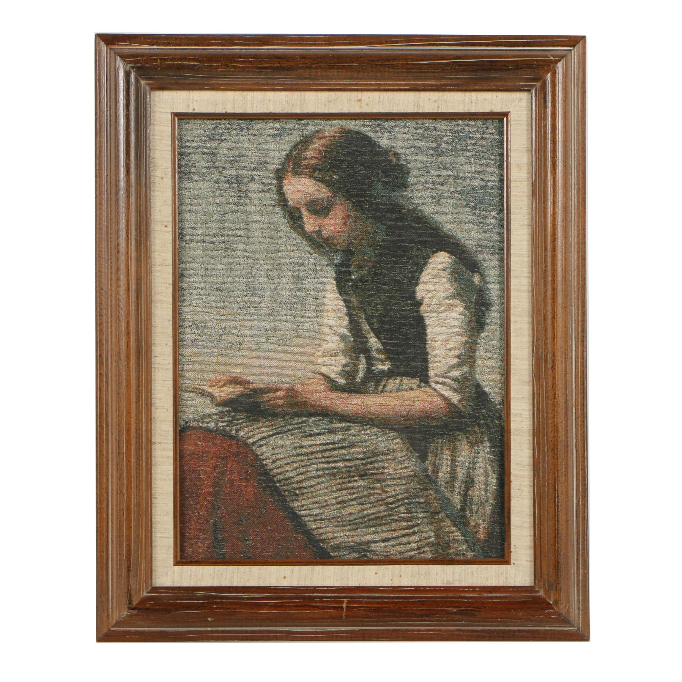 Framed Woven Tapestry of a Girl Reading