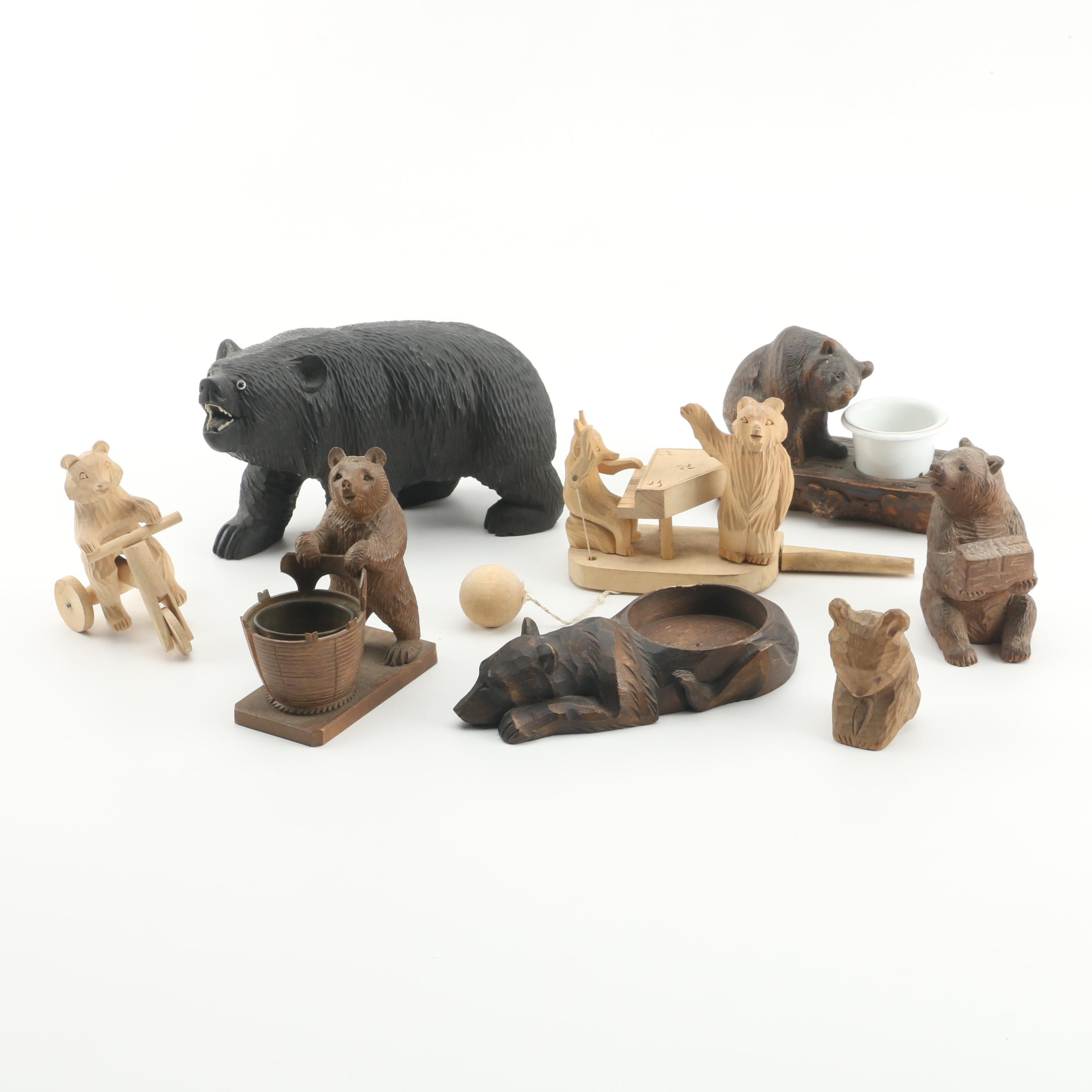 Hand Carved Wooden Bear Figurines and Toys