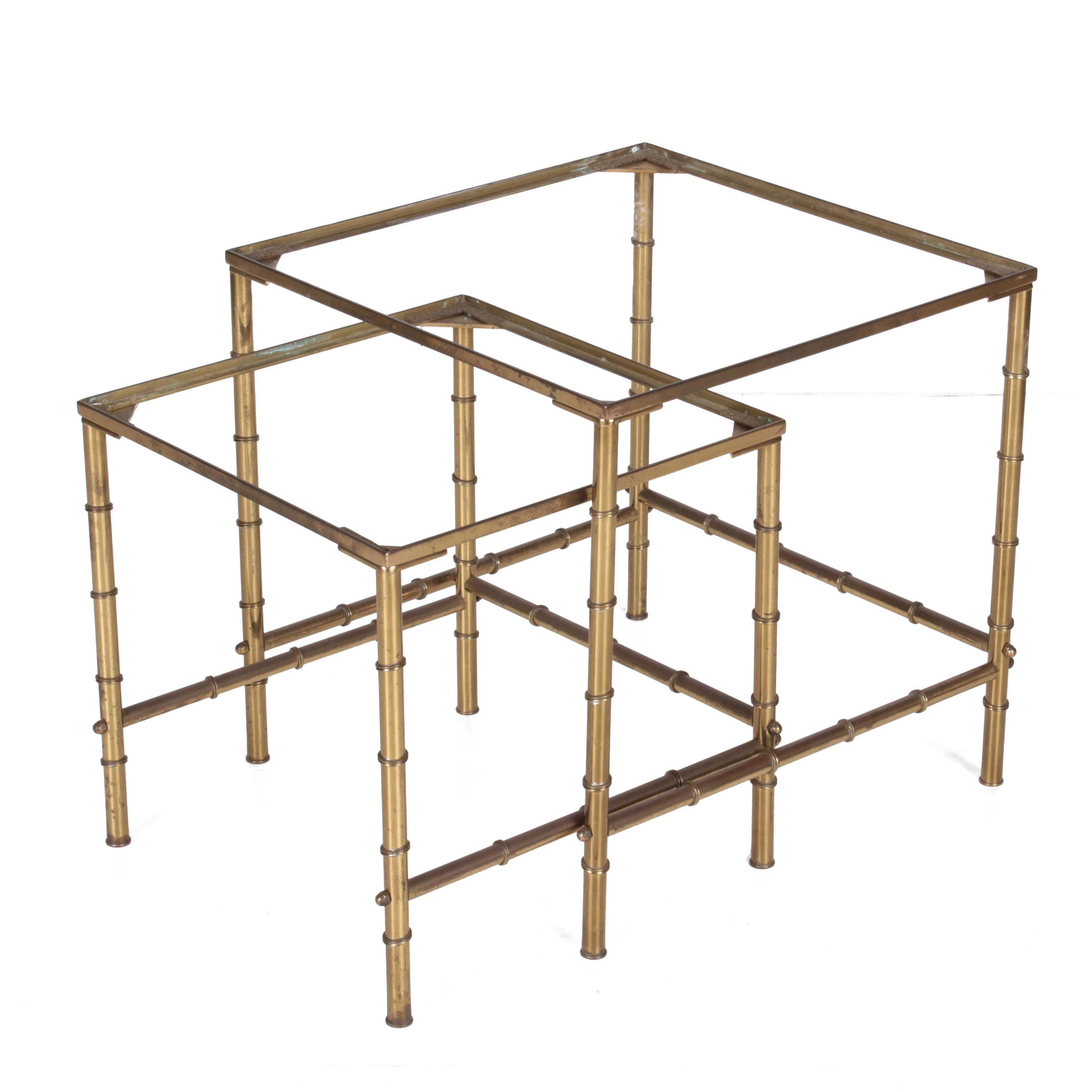 Vintage Brass Faux-Bamboo Nesting Tables