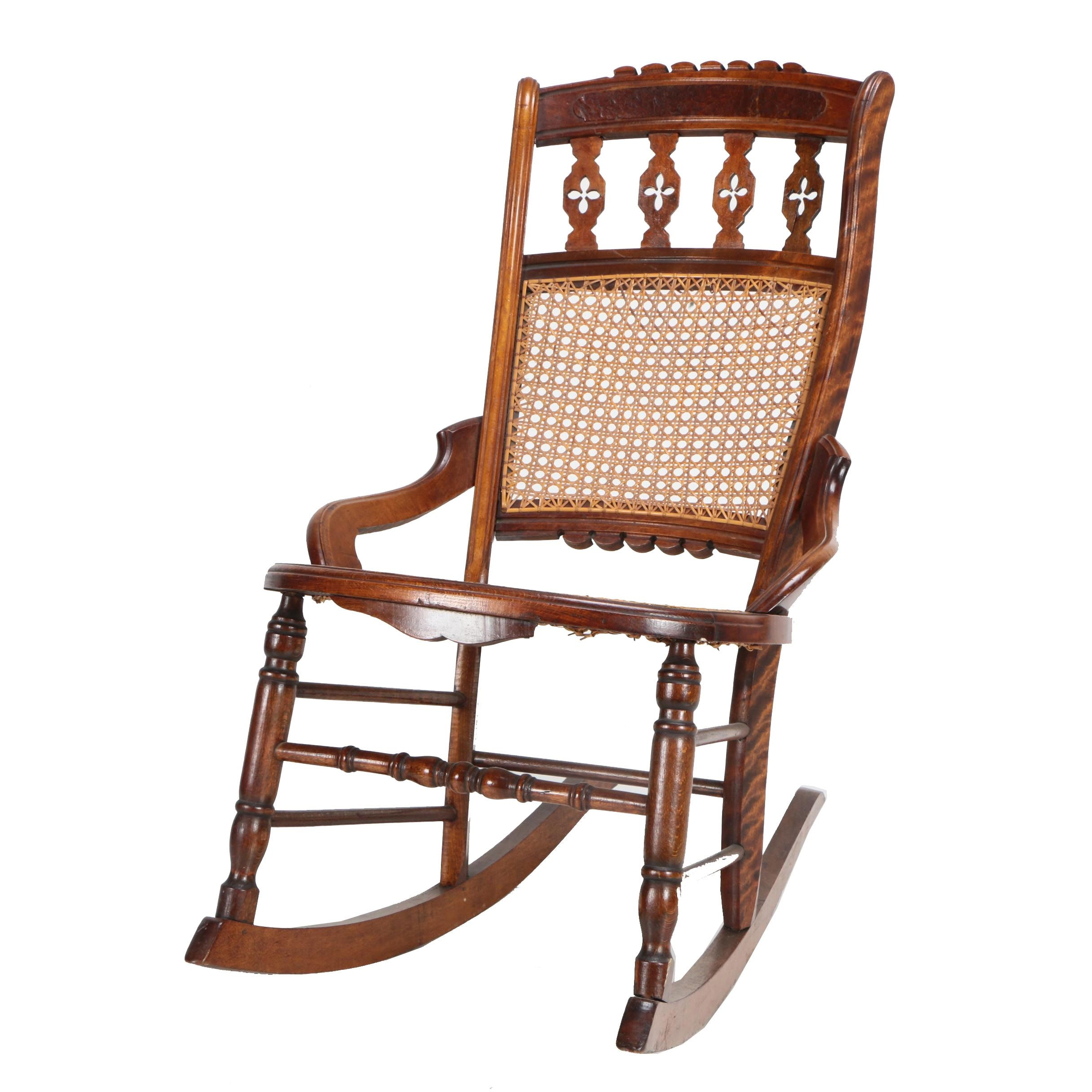 Vintage Eastlake Style Cane Rocking Chair