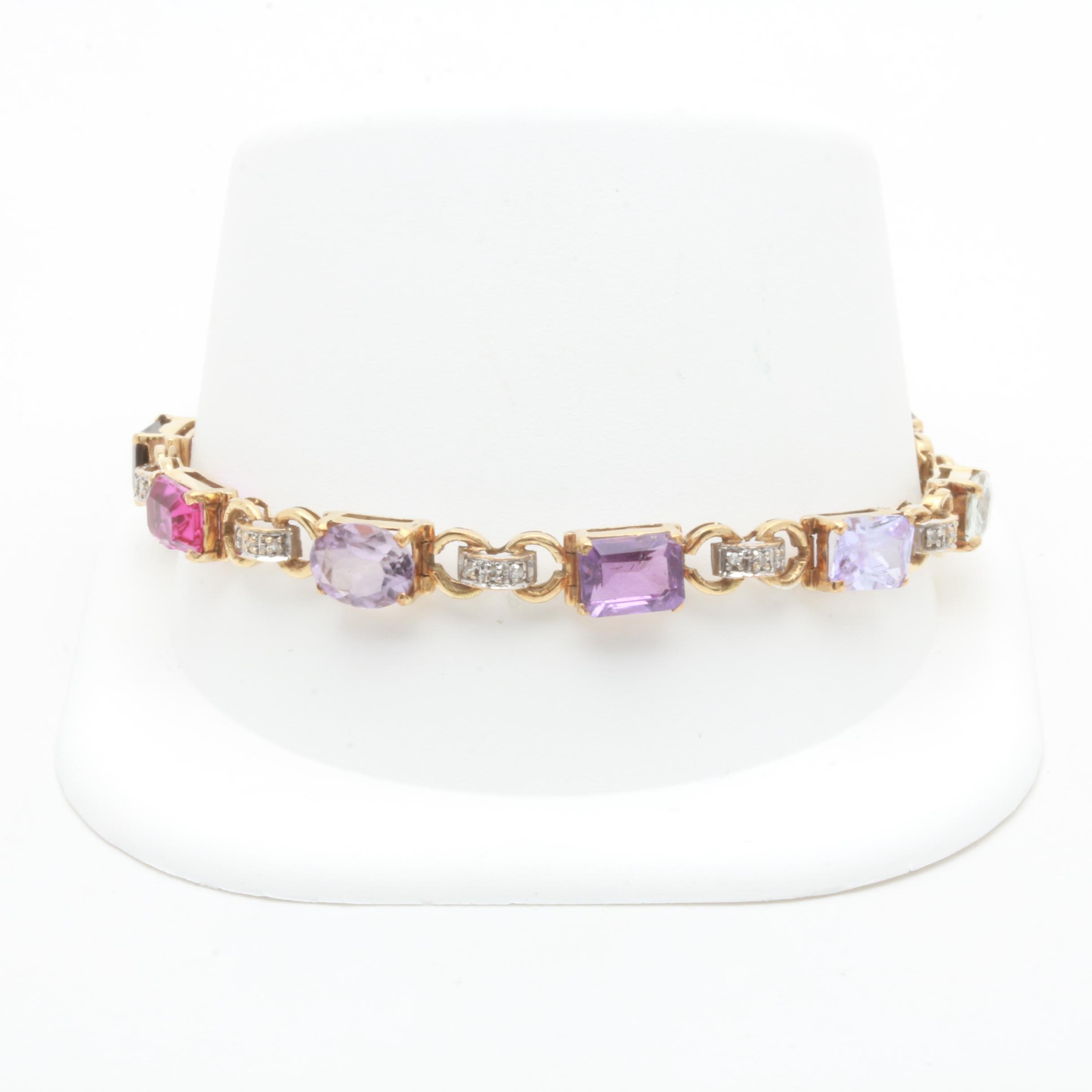 14K Yellow Gold Diamond and Multi-Gemstone Tennis Bracelet