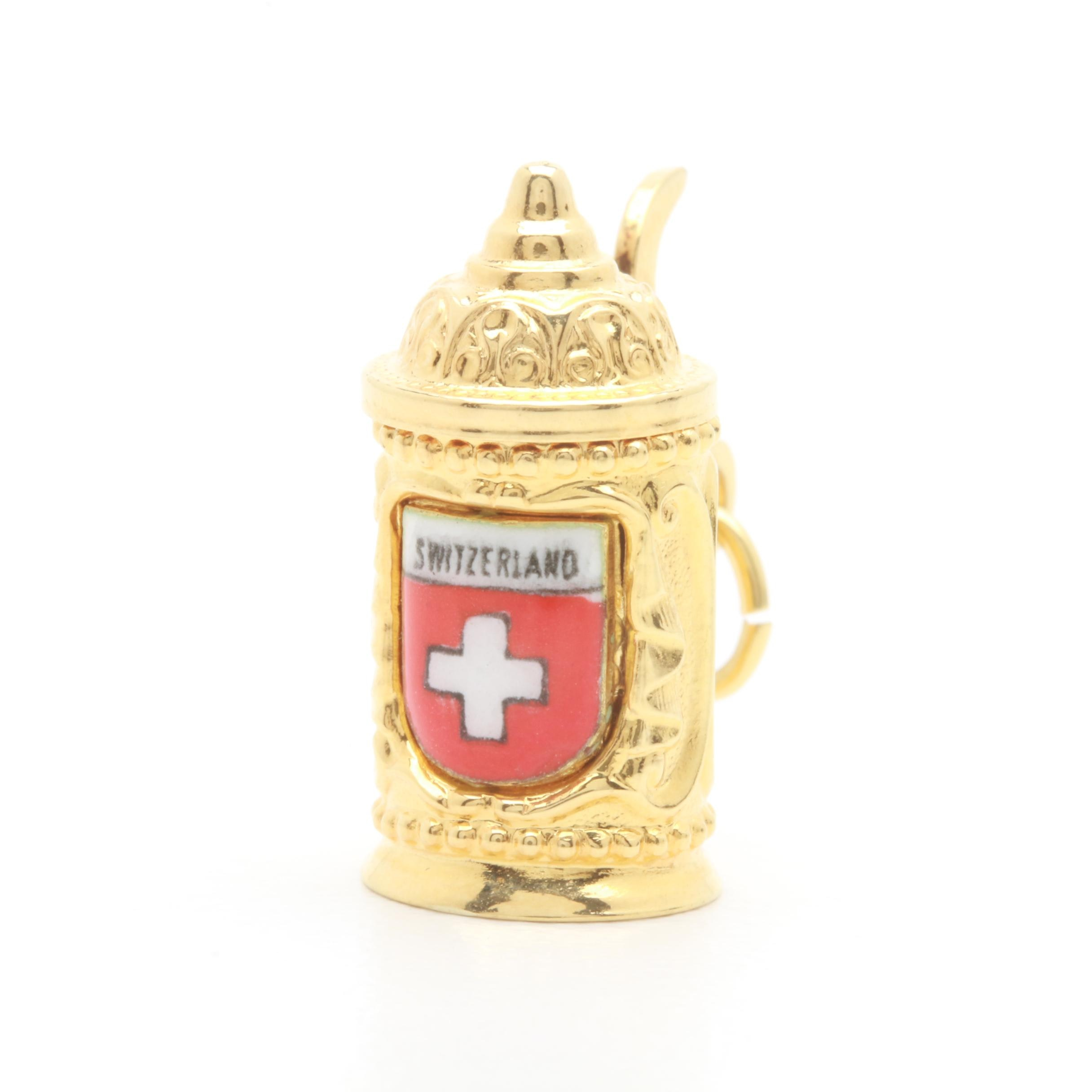 14K Yellow Gold and Enamel Stein Charm