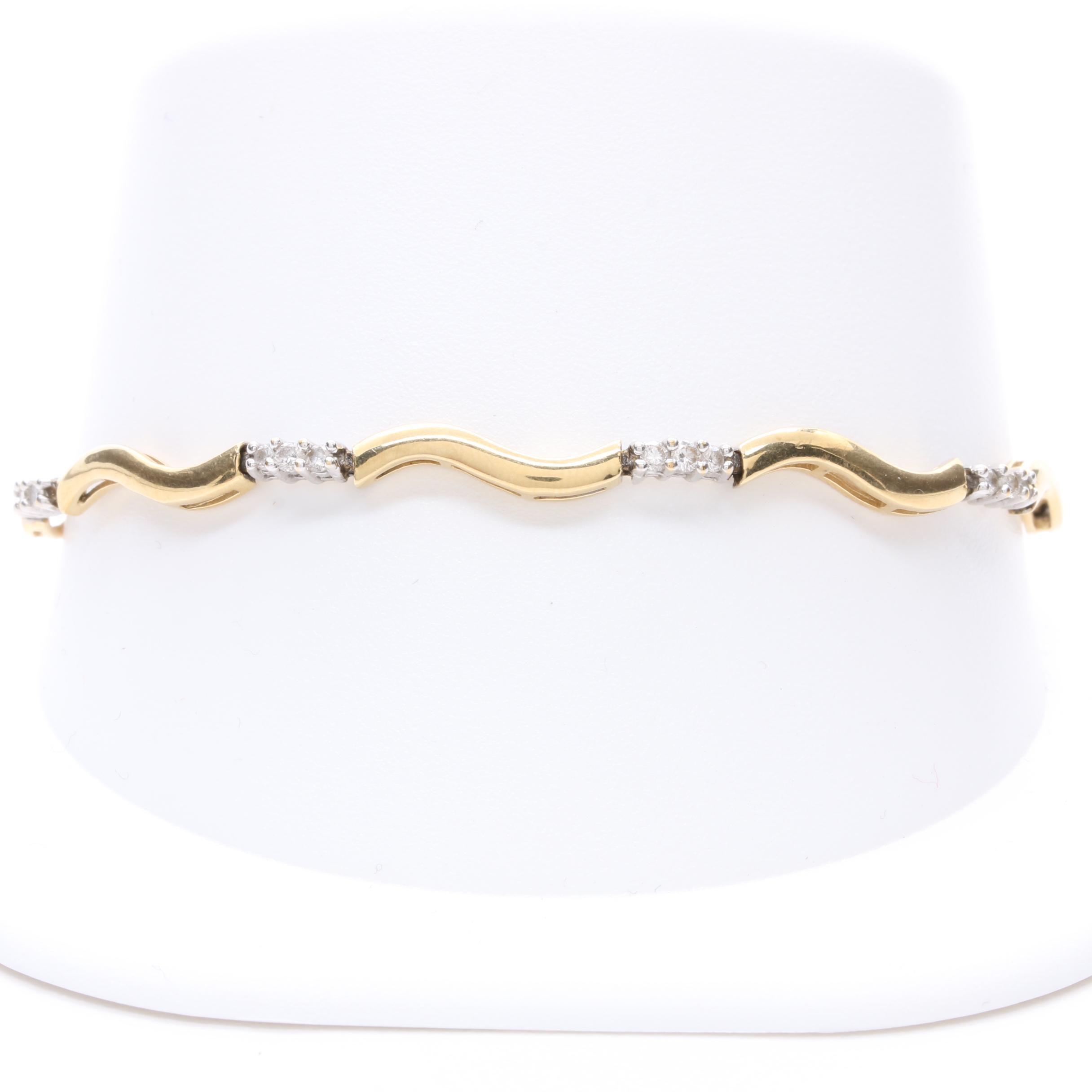 10K and 14K Yellow Gold and Diamond Tennis Bracelet
