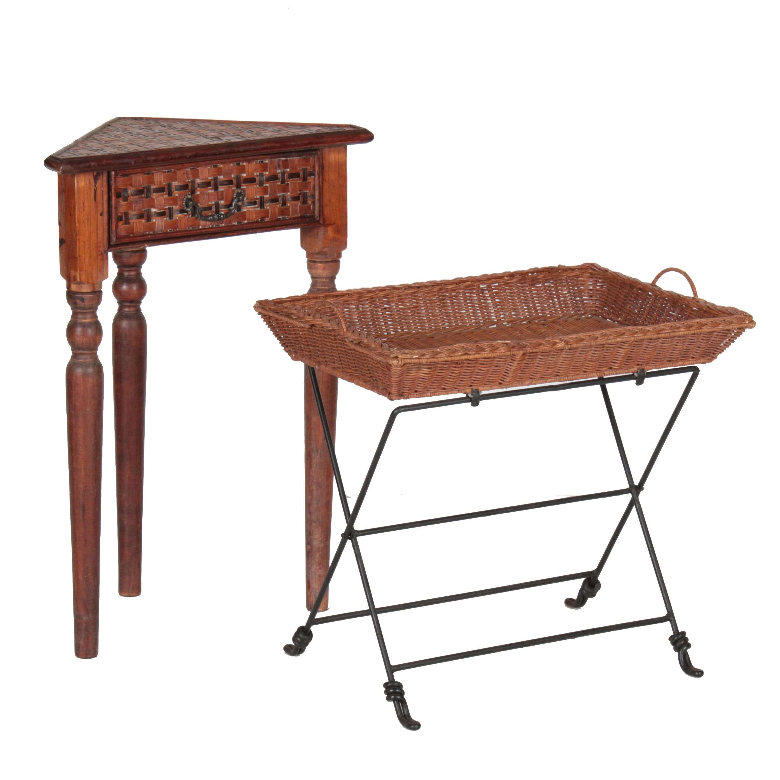 Wicker and Iron Folding Tray Table with One-Drawer Corner Stand
