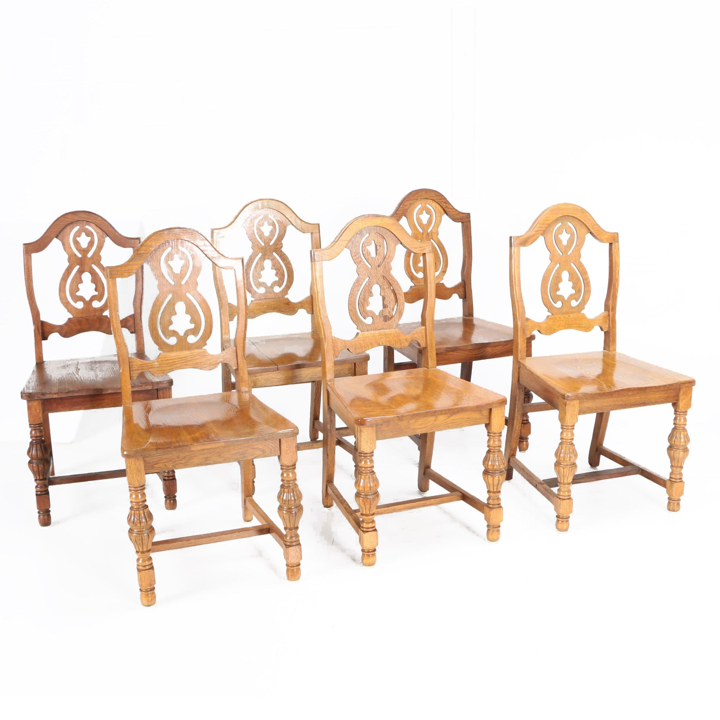 Spanish Revival Style Oak Pierced Splat Dining Chairs