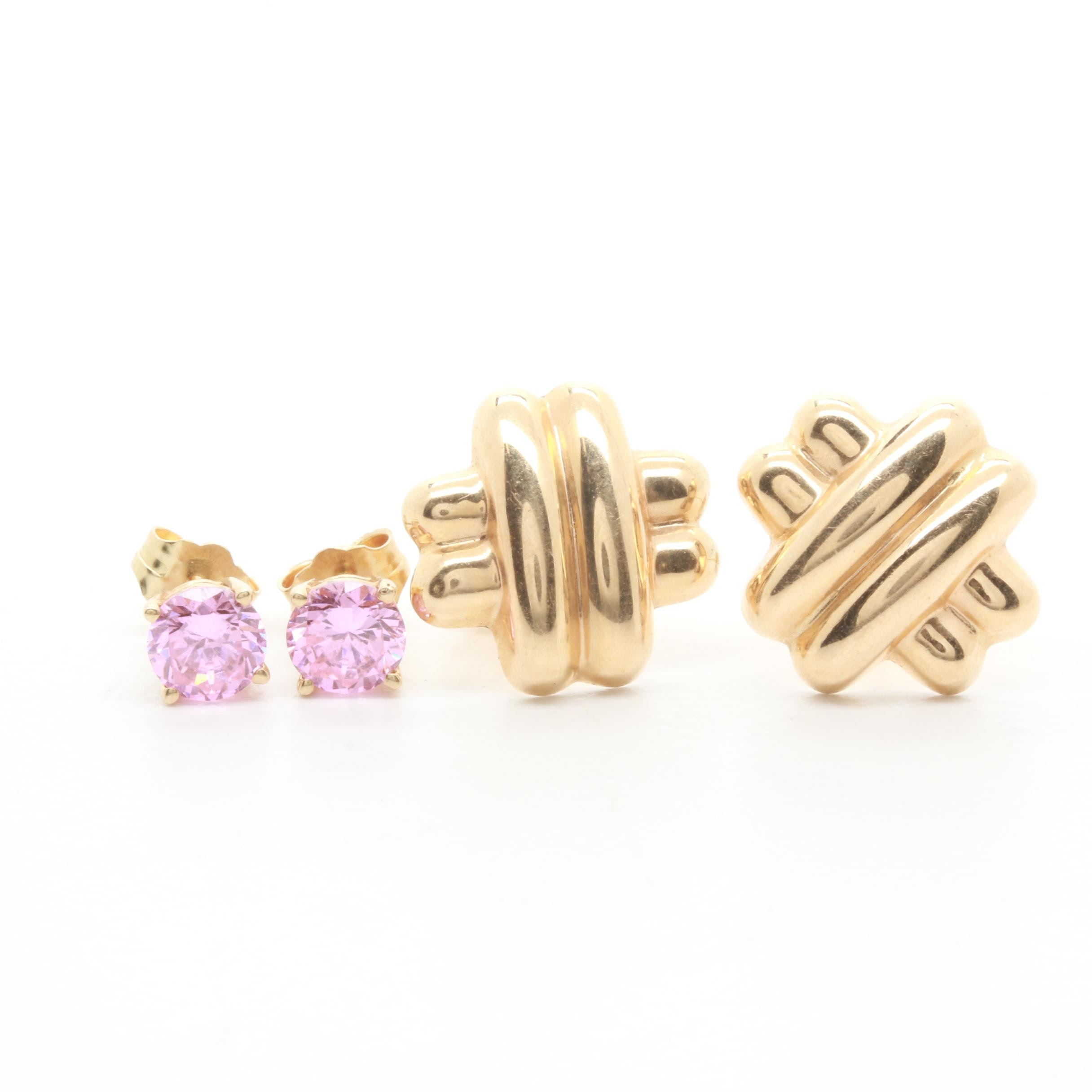 14K Yellow Gold Pink Cubic Zirconia Earrings