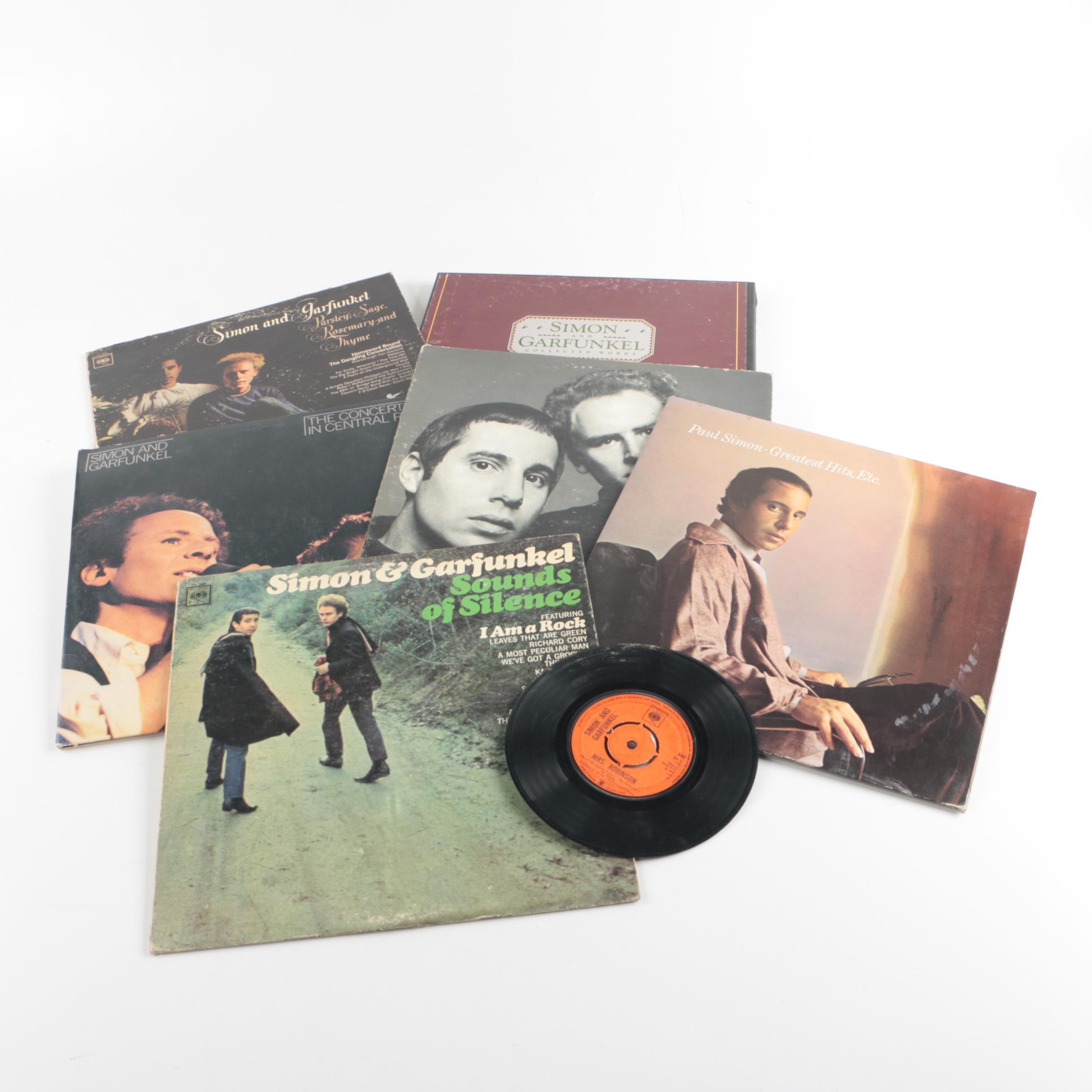 "Vintage Simon & Garfunkel and Paul Simon Vinyl LPs Including ""Sounds of Silence"""