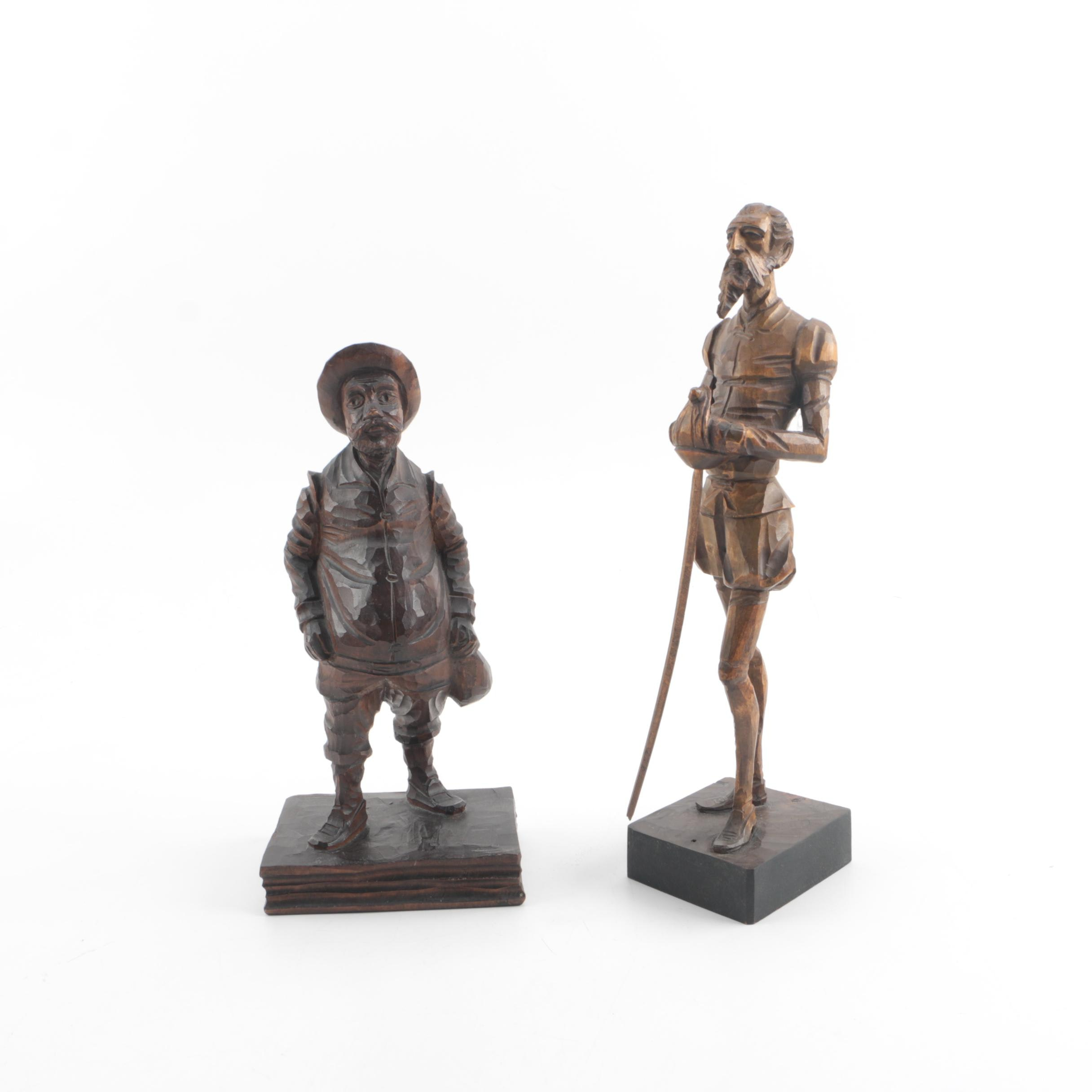 Carved Wood Sculptures of Don Quixote and Sancho Panza