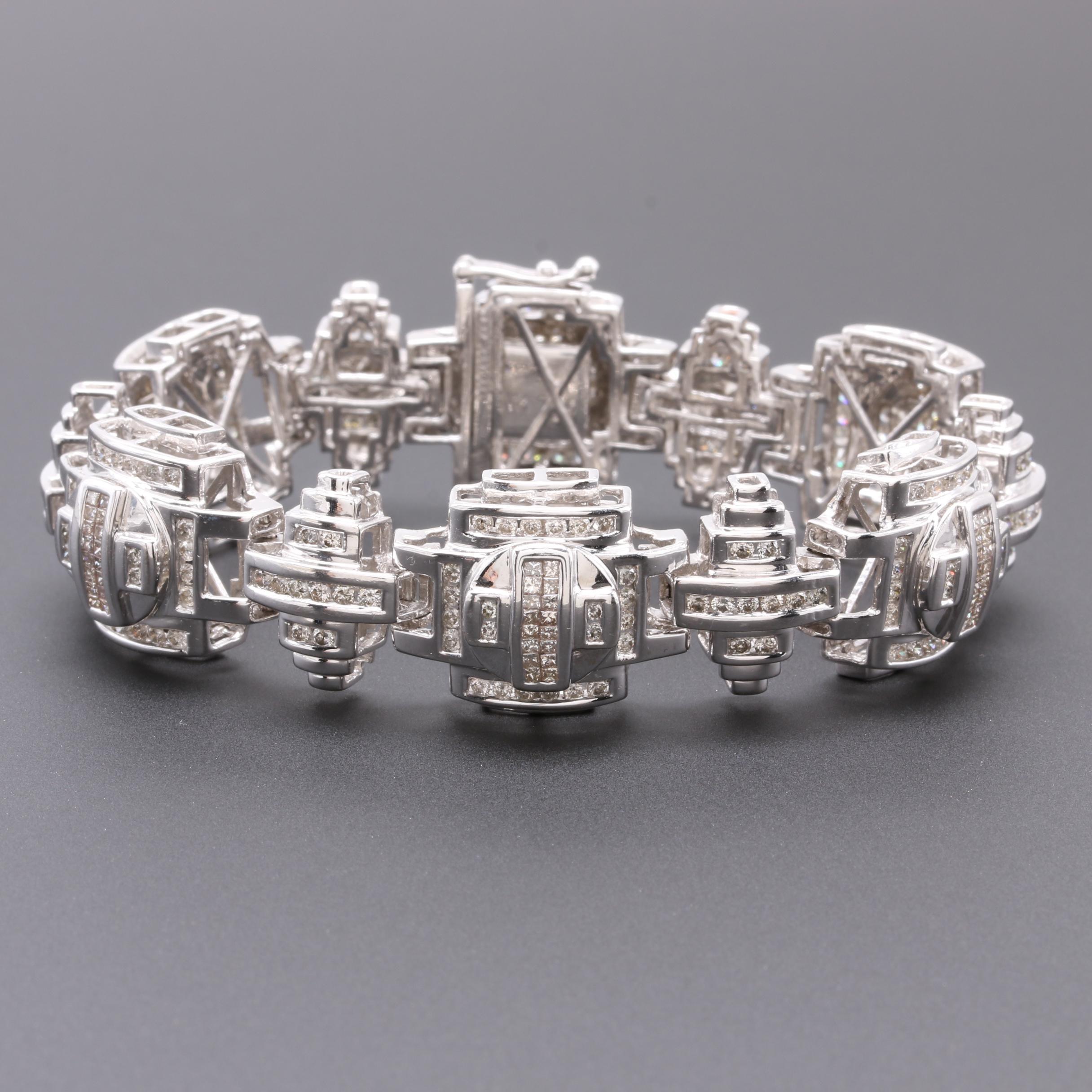 14K White Gold 3.75 CTW Diamond Dimensional Link Bracelet