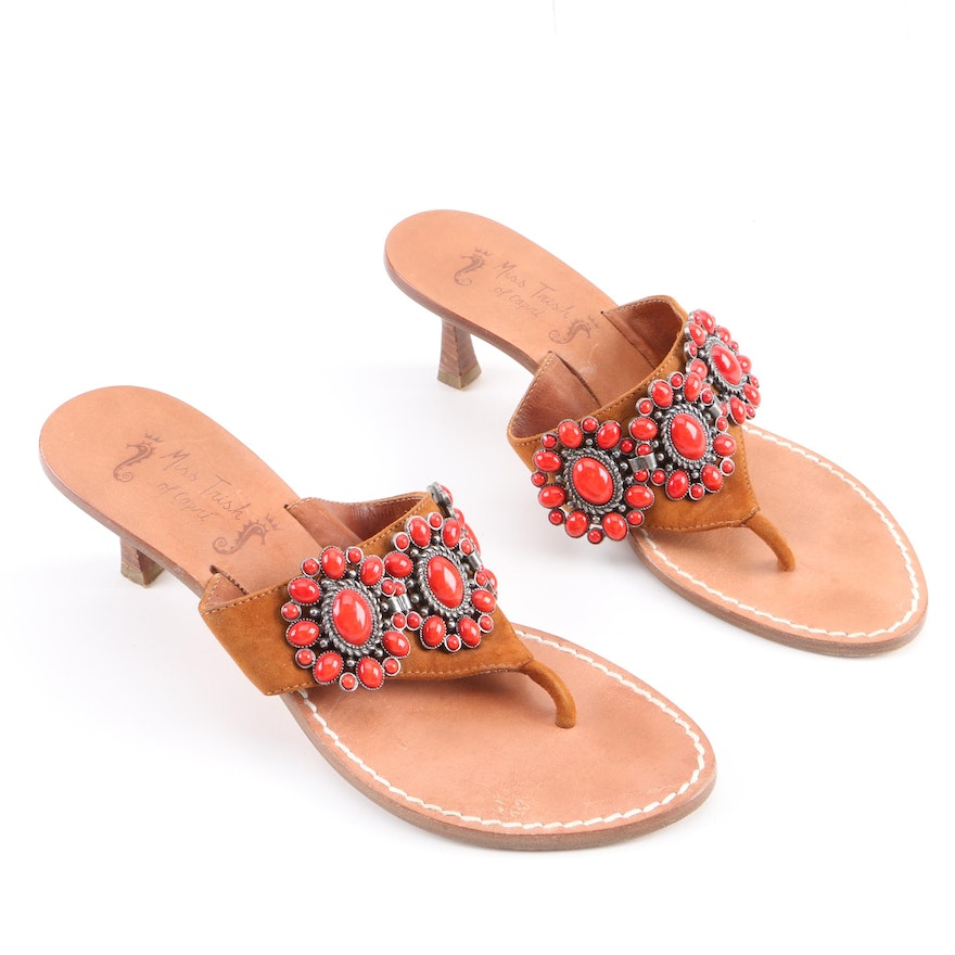91b223bb312c81 Miss Trish of Capri Italian Made Embellished Leather Sandals   EBTH