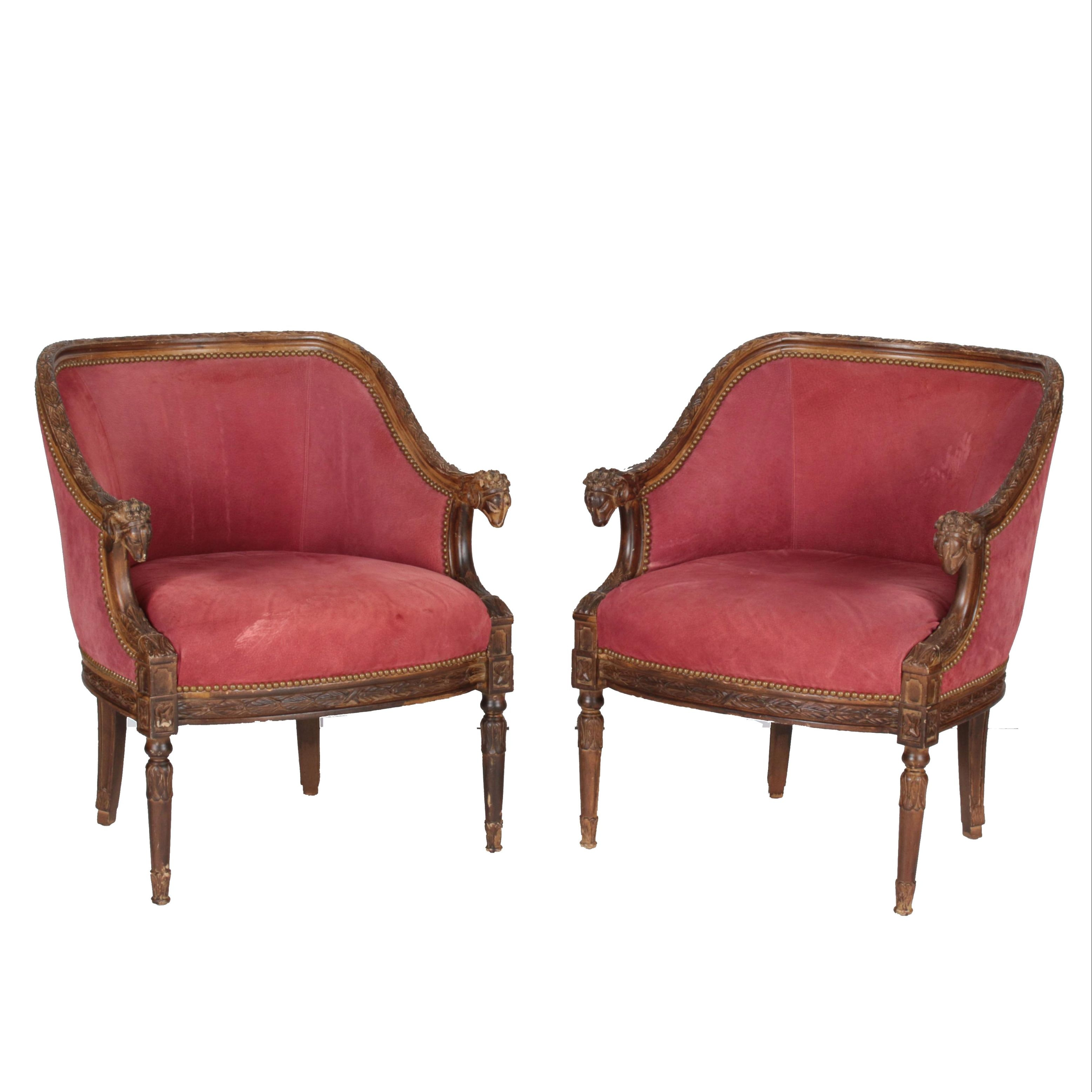 Pair of Vintage Italian Neoclassical Style Armchairs