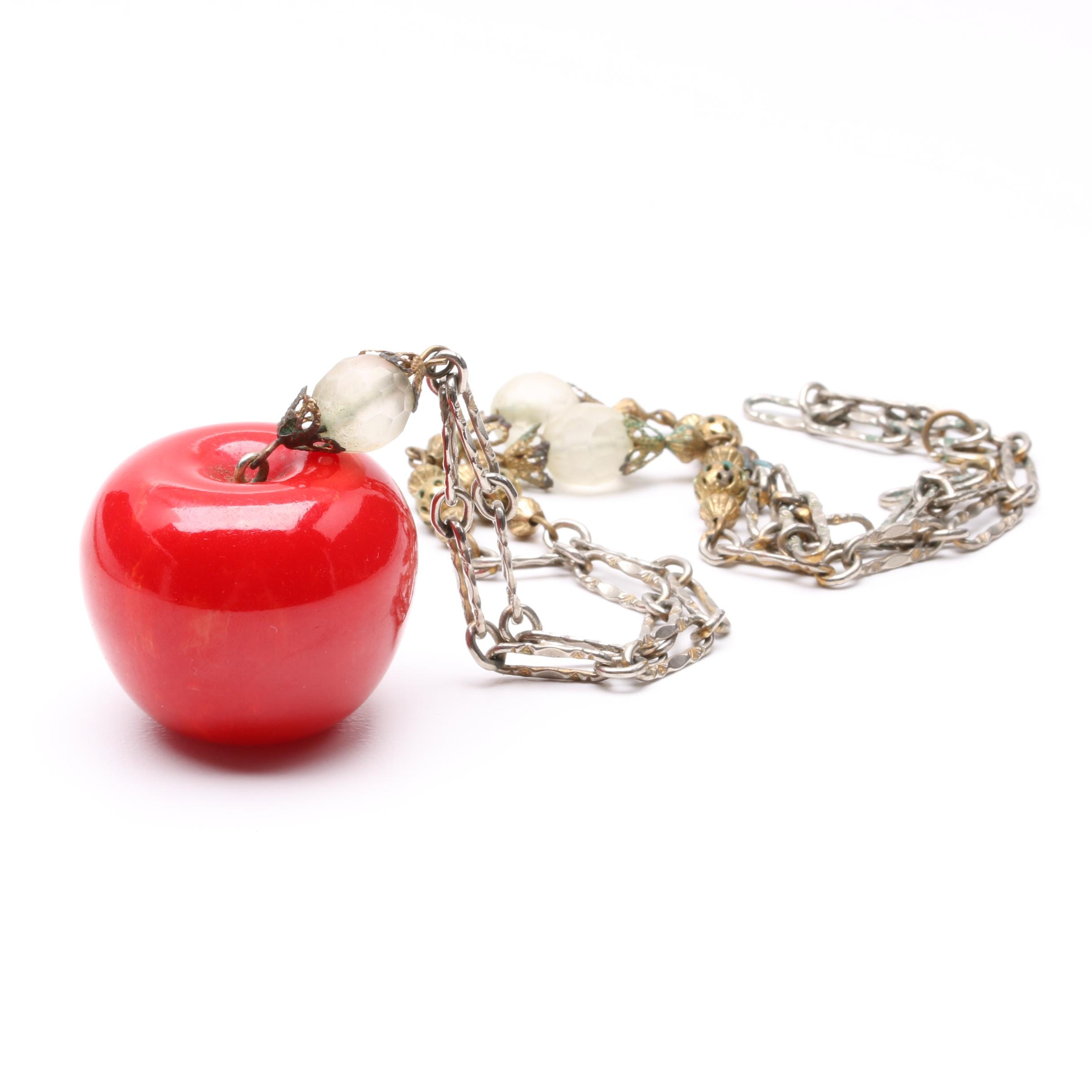 Plastic and Resin Necklace With Apple Pendant