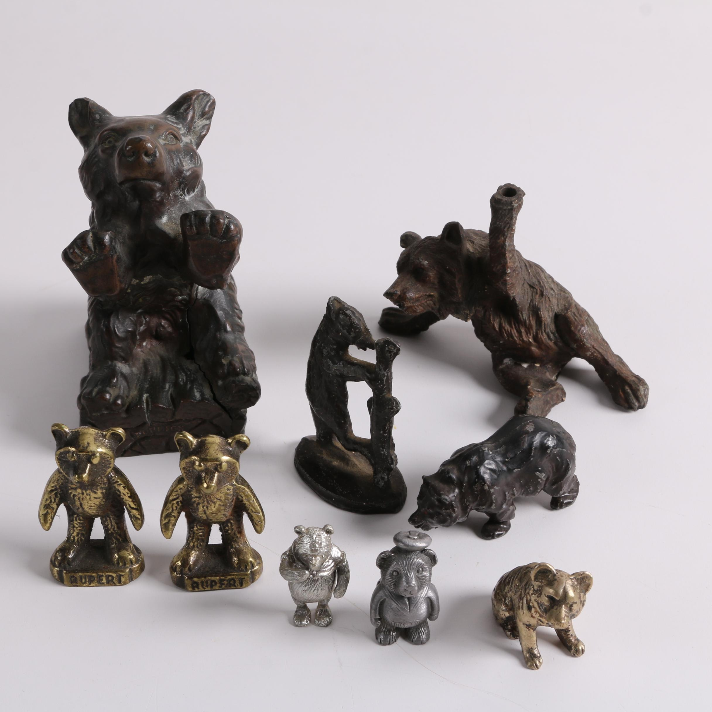 """Vintage Cast Metal Bear Figurines including """"Winnie the Pooh"""" and """"Rupert"""""""