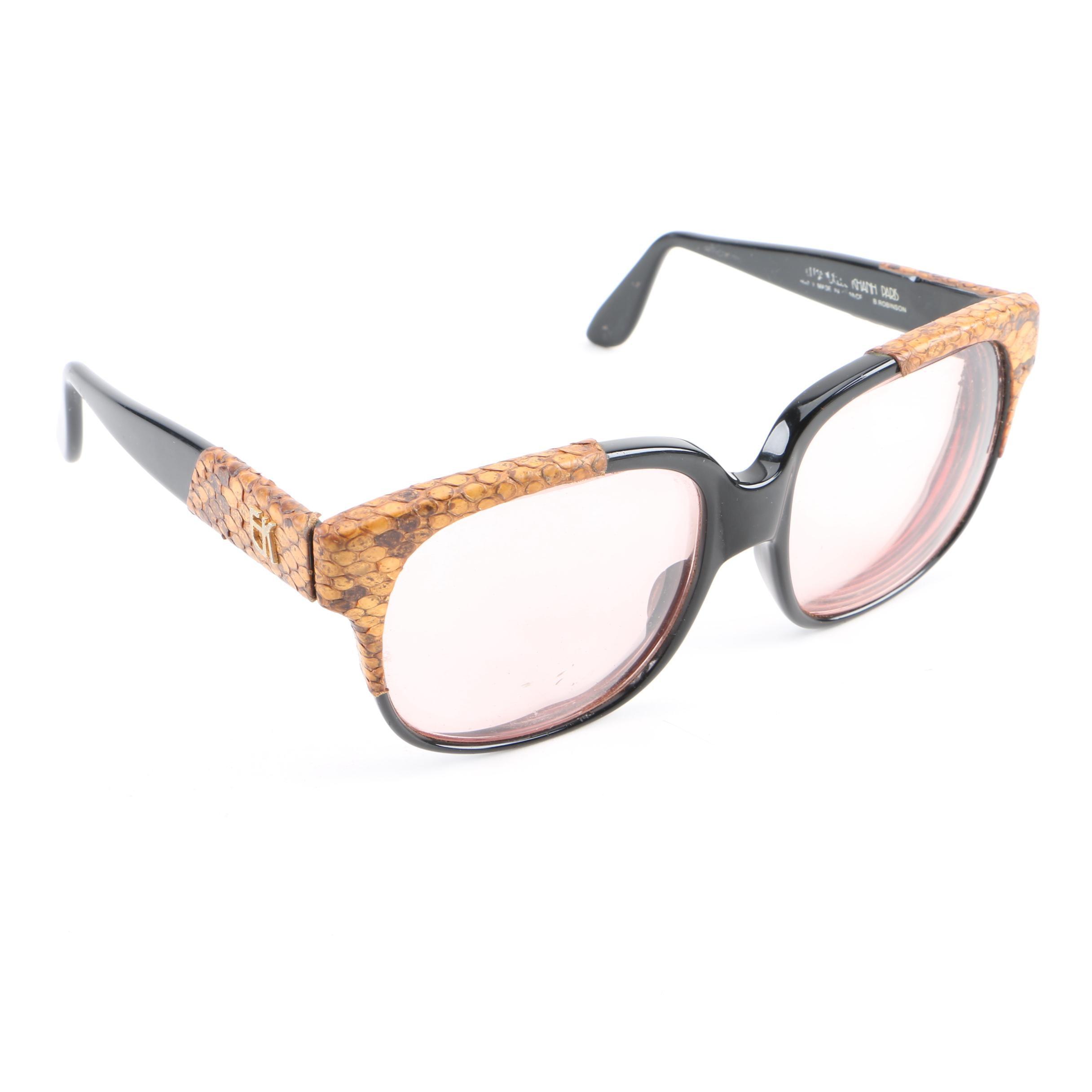 Circa 1970s Vintage Emmanuelle Khanh Sunglasses with Snakeskin Accented Frames