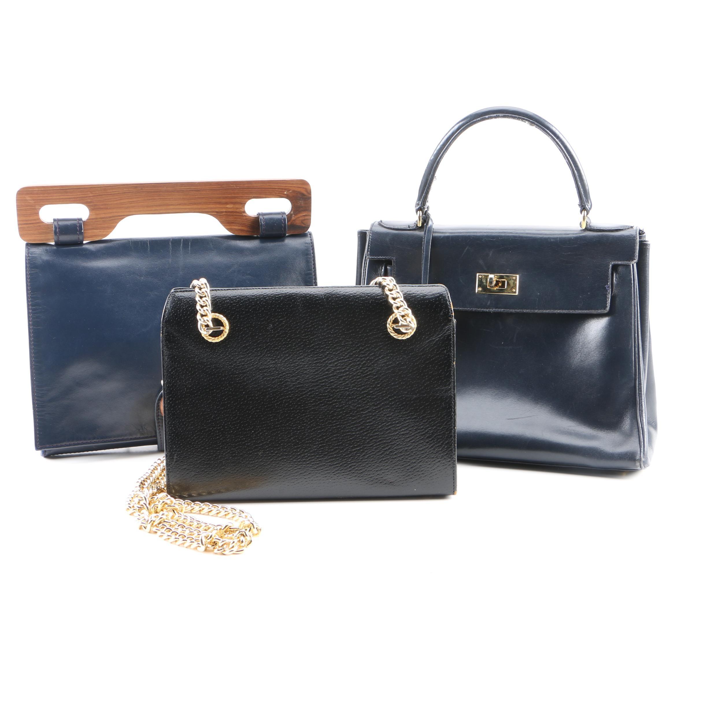 Vintage Koret Black Leather Handbag and Navy Blue Leather Handbags