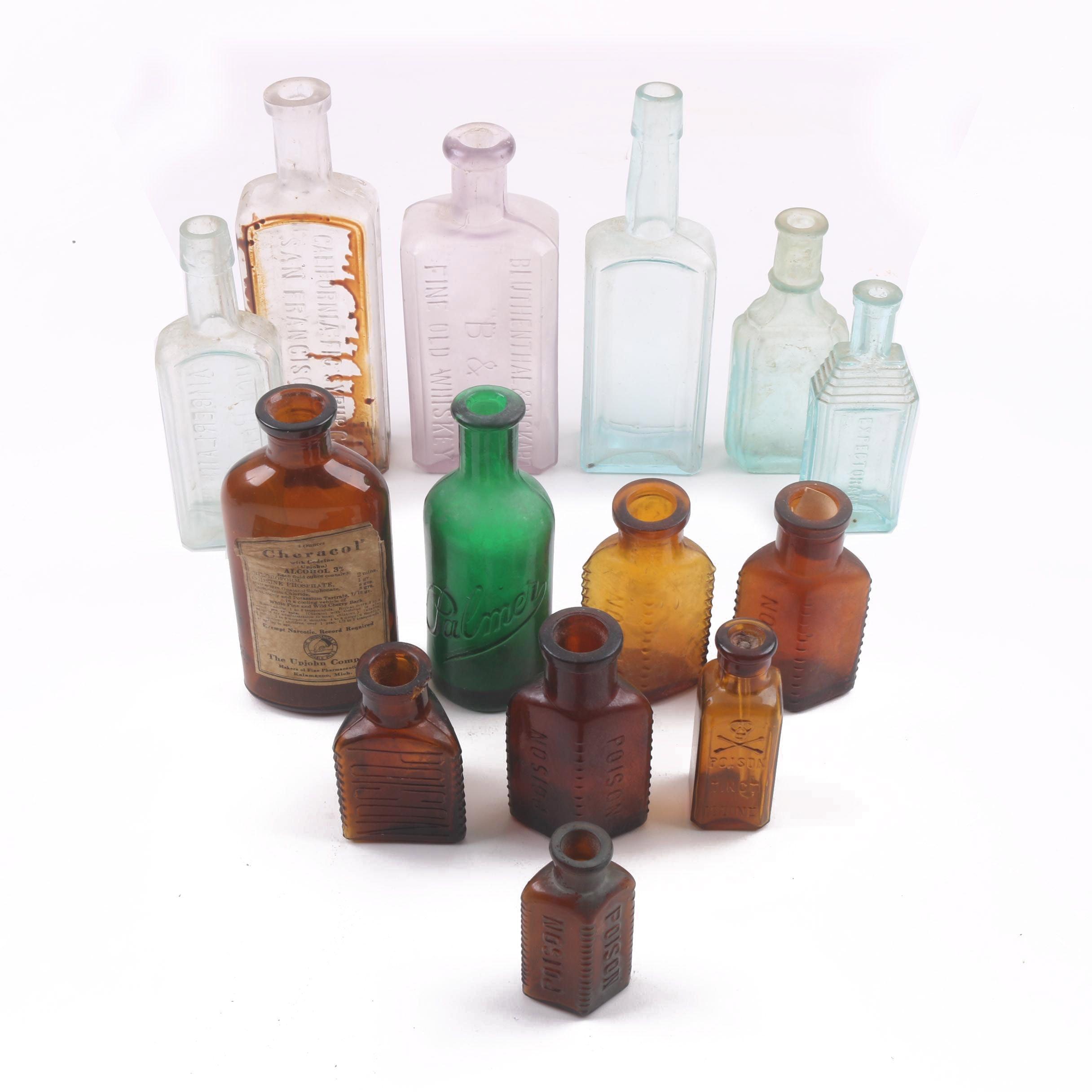 Group Of 14 Antique Bottles