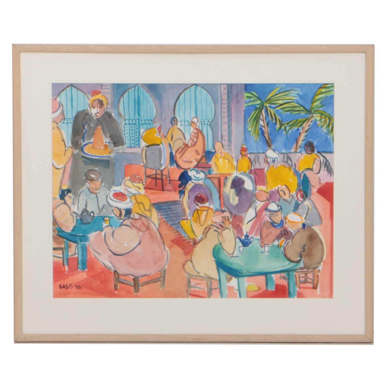 "David Loren Bass 1996 Watercolor on Paper ""Moroccan Teahouse"""