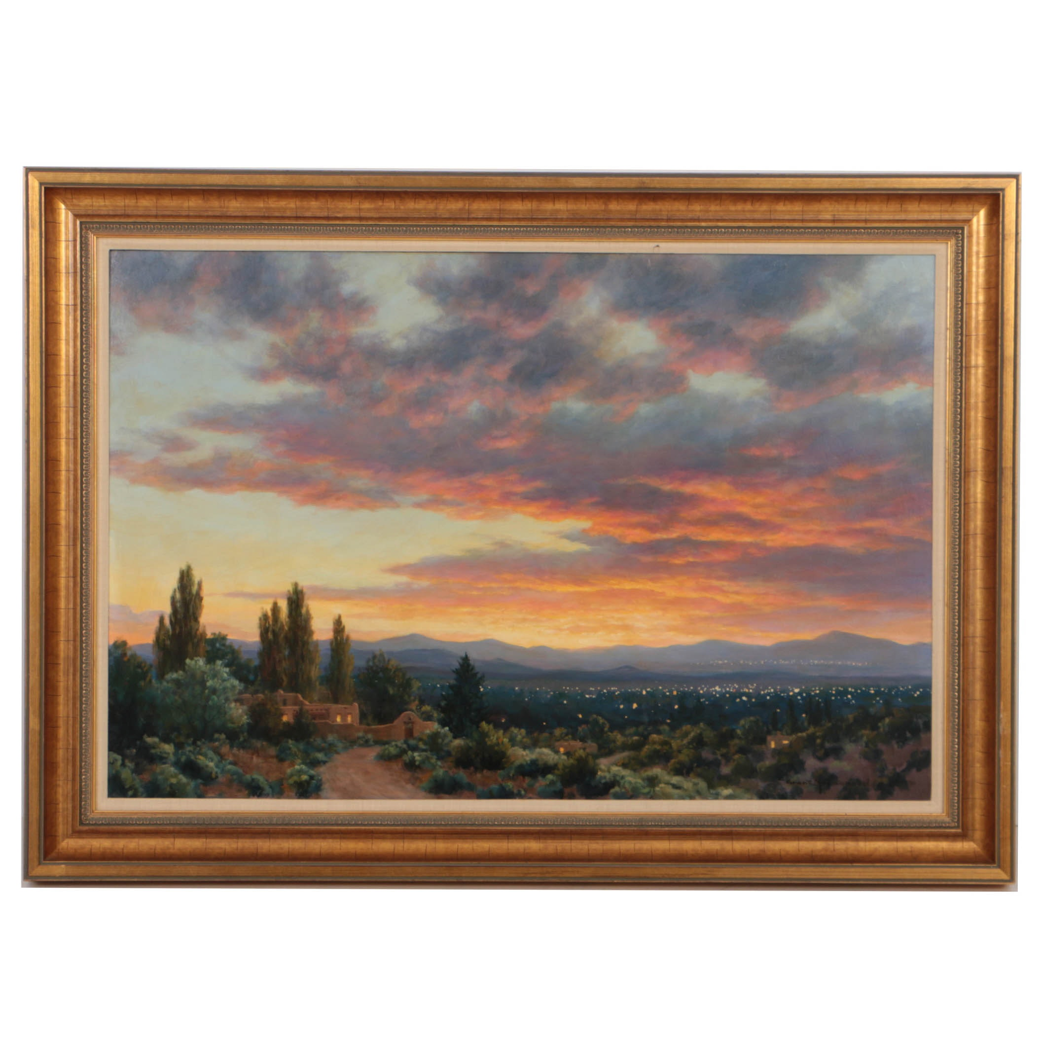 "Grant MacDonald 1990 Oil Painting on Board ""View of Santa Fe Sunset"""