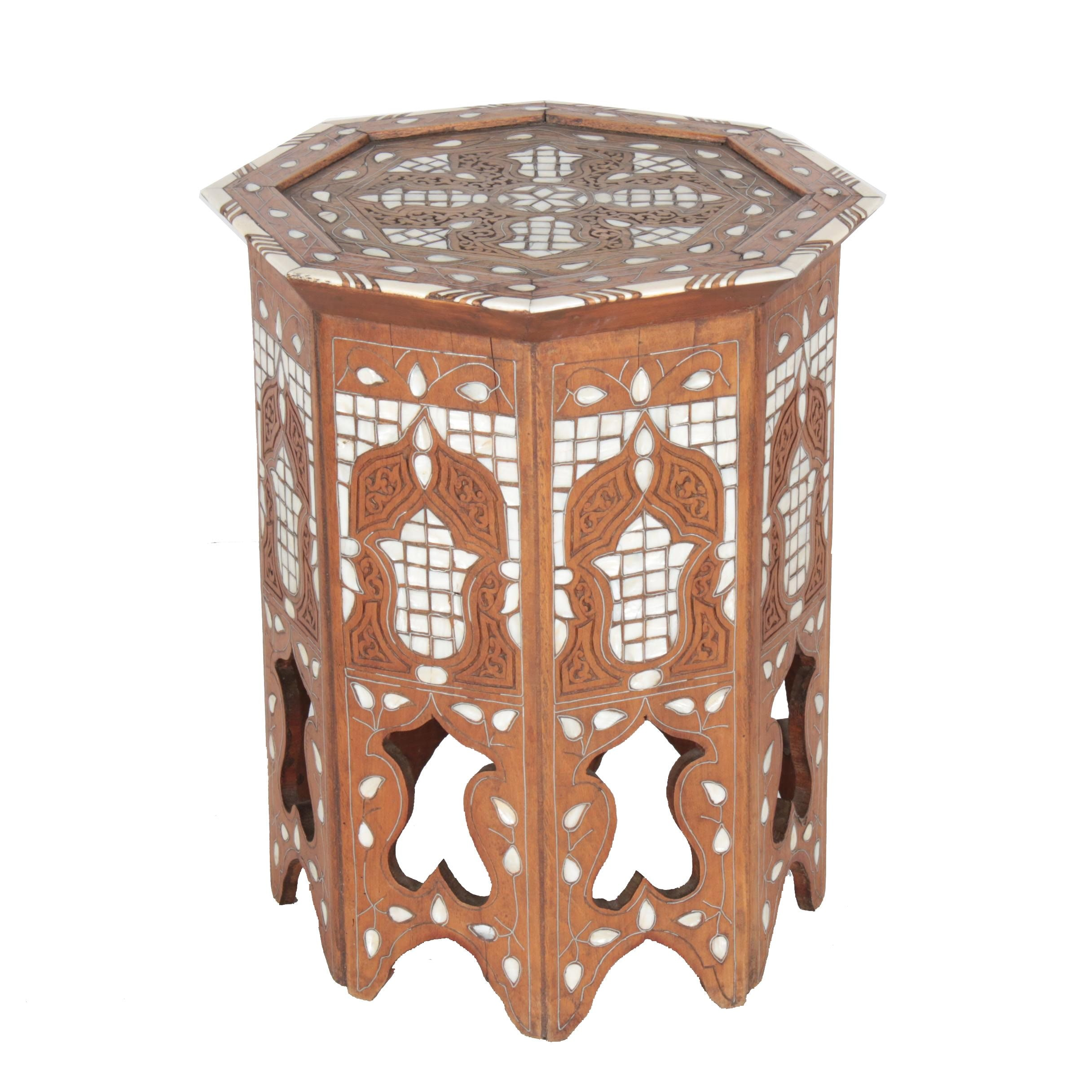 Vintage Moorish Hardwood Tabouret with Mother-of-Pearl and Bone Inlay