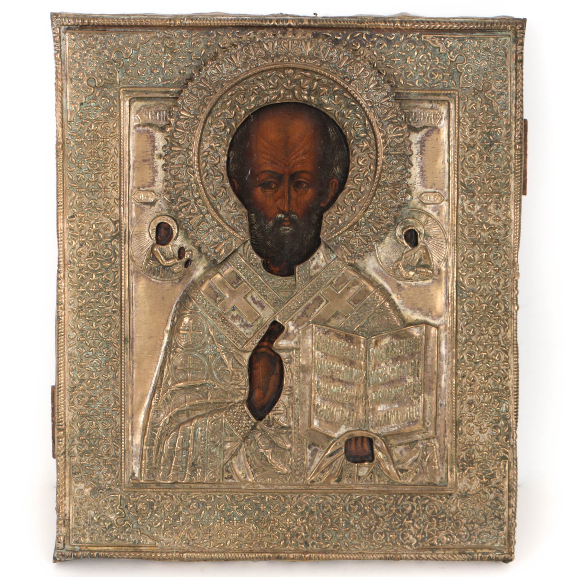 Antique Russian Icon of St. Nicholas with Brass Oklad
