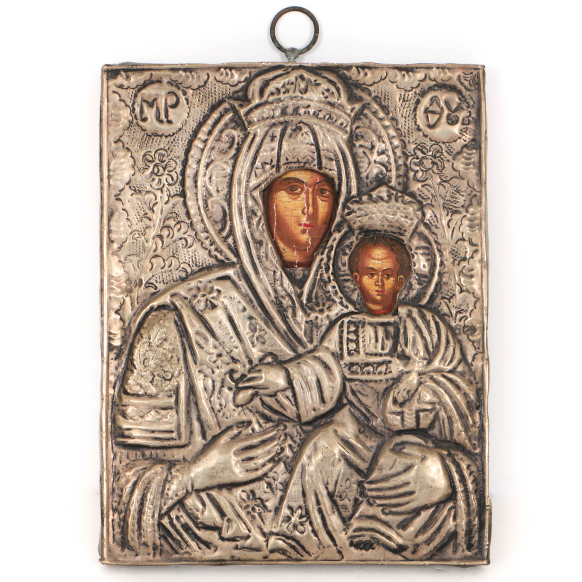 Antique Eastern Orthodox Icon of Mother of God with Brass Oklad