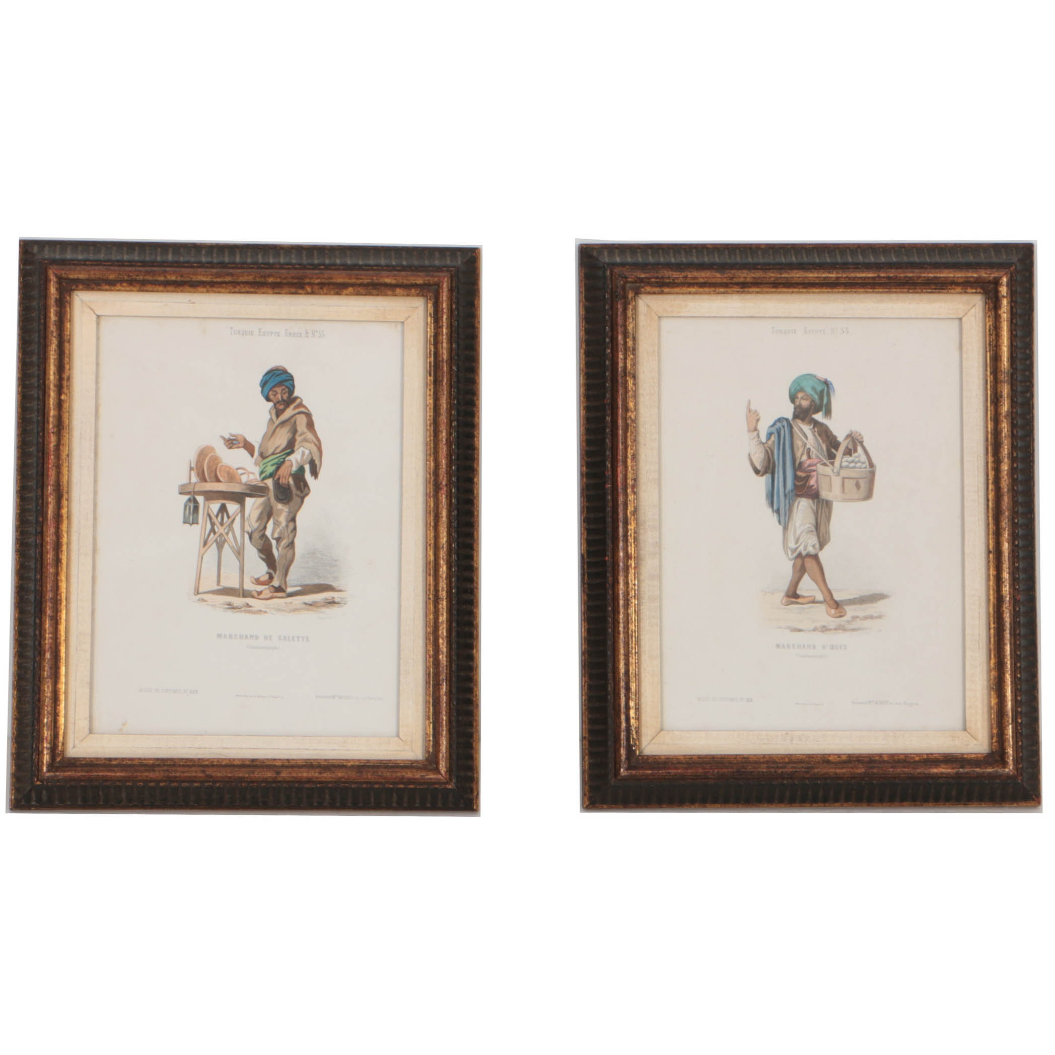 Pair of Antique French Hand-Colored Costume Prints