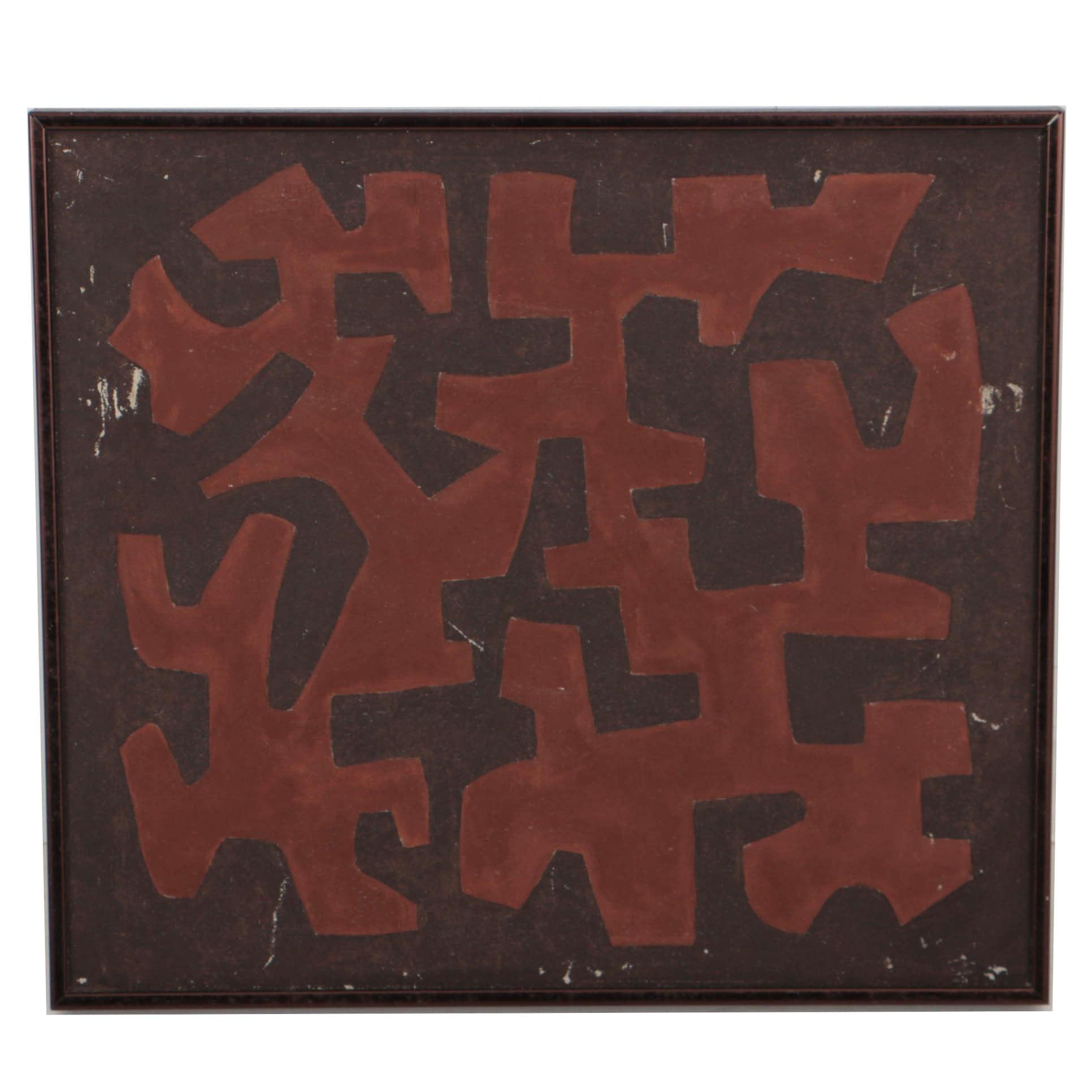 W. Glen Davis 1984 Abstract Oil Painting on Canvas