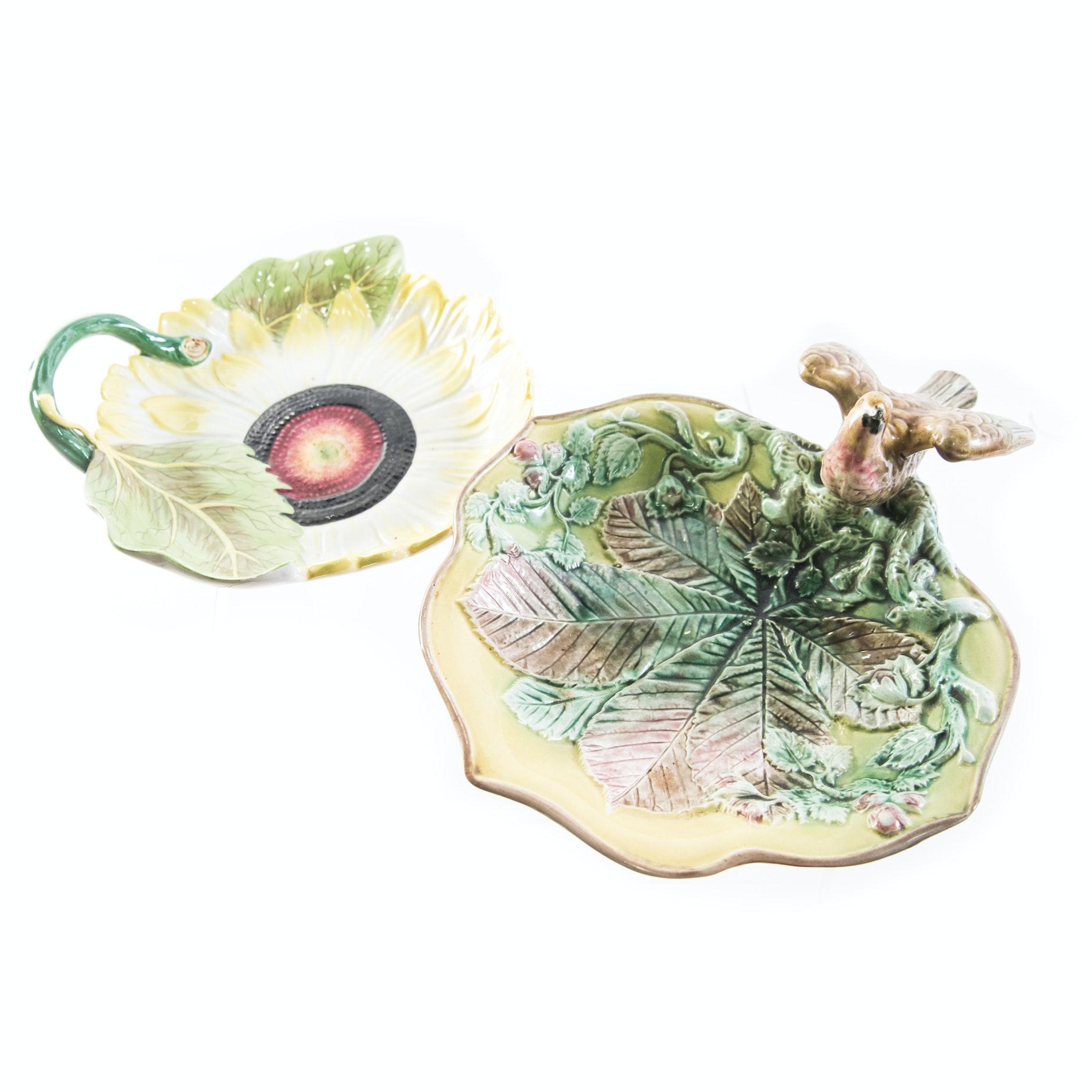Decorative Ceramic Majolica Plates Featuring Mottahedeh