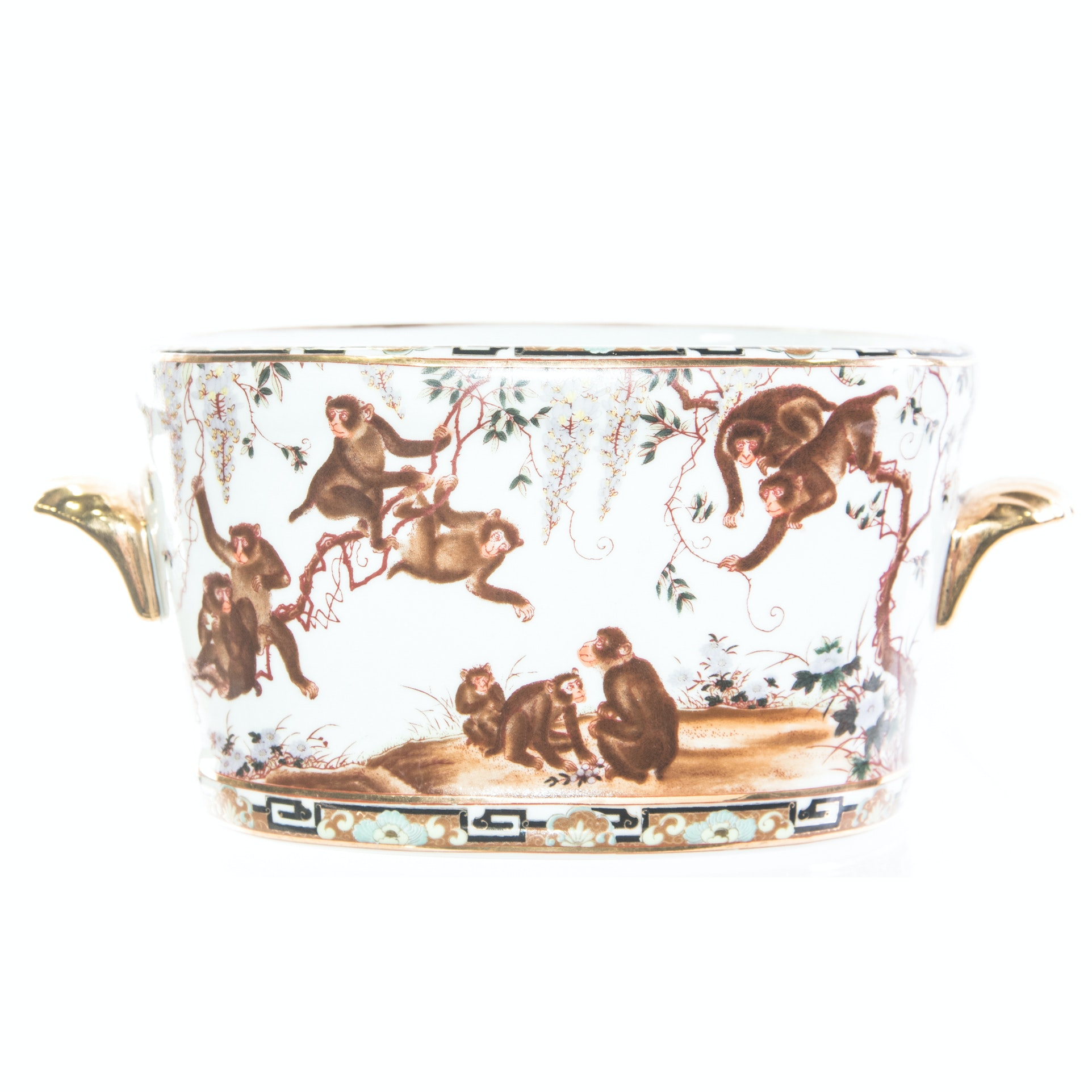 Monkey Themed Ceramic Jardiniere