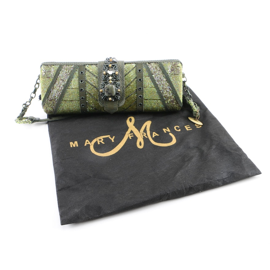 Mary Frances of San Francisco Green Beaded Embellished Evening Bag