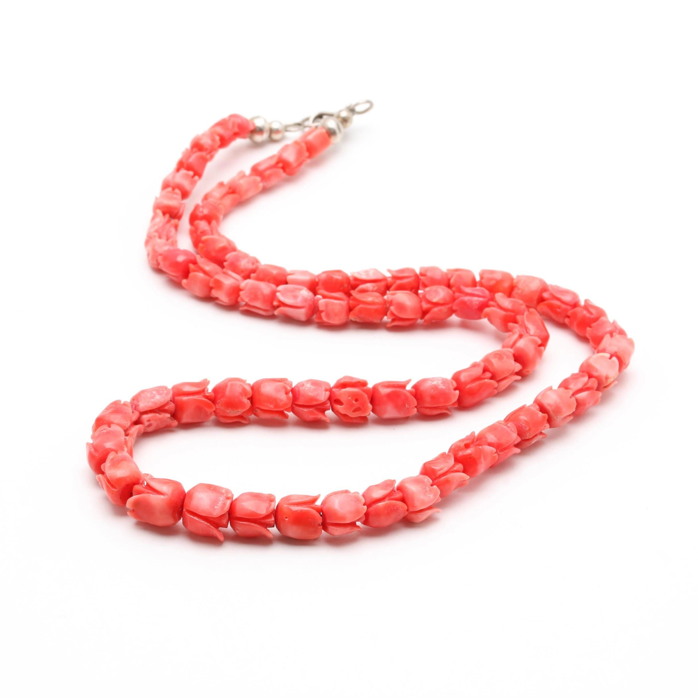 900 Silver Carved Flower Coral Necklace
