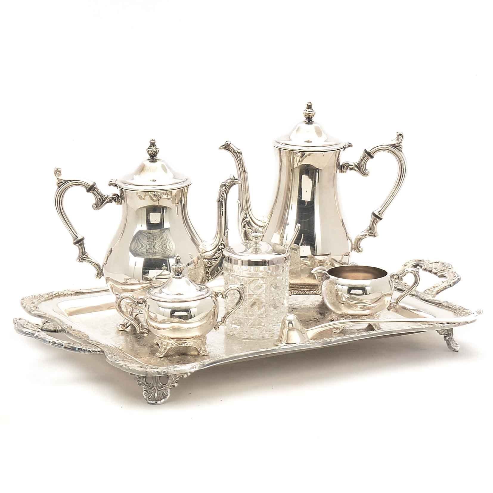 Wm. Rogers Silver Plate Tea Service and Other Serveware