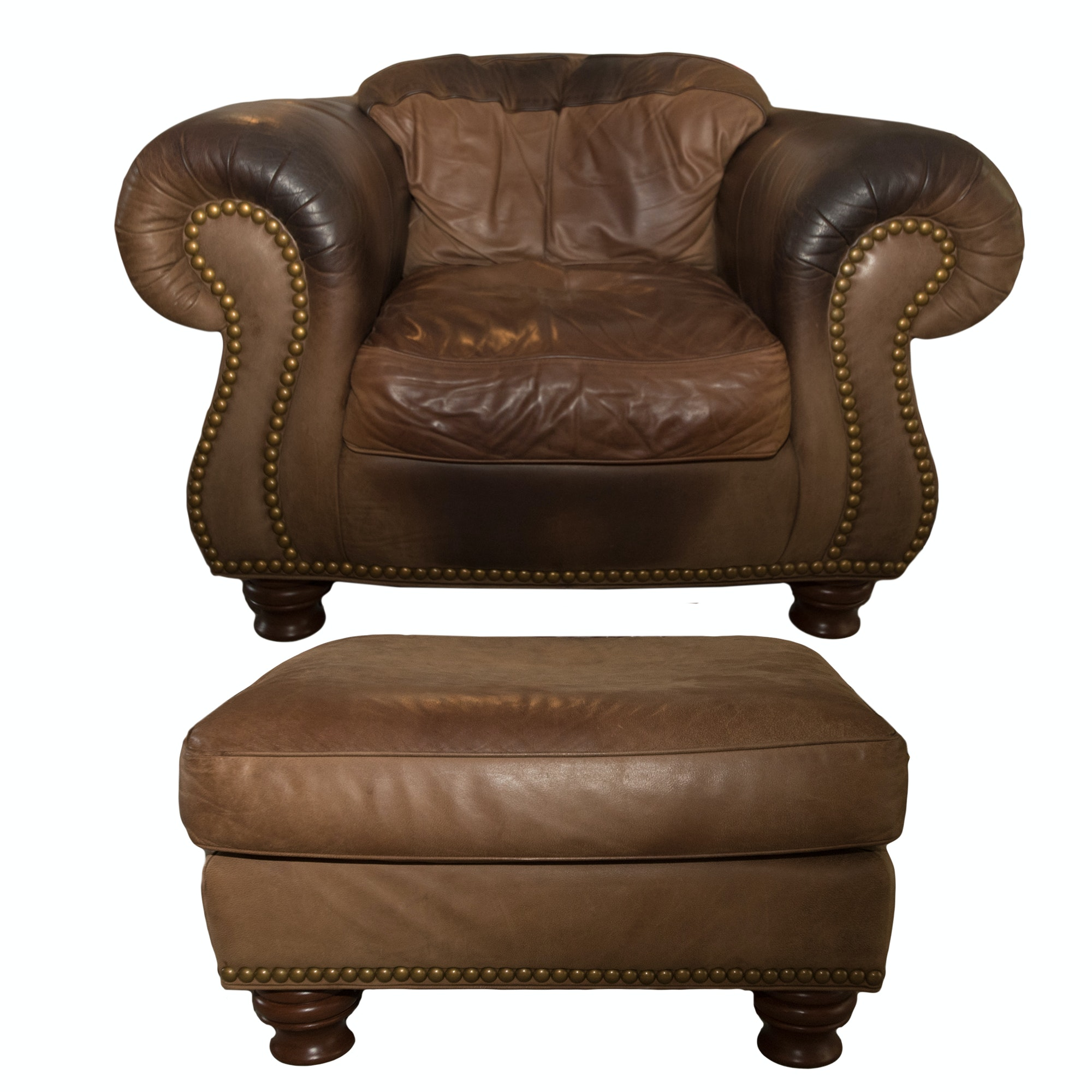 "Drexel-Heritage ""Kashmir"" Leather Armchair and Ottoman"