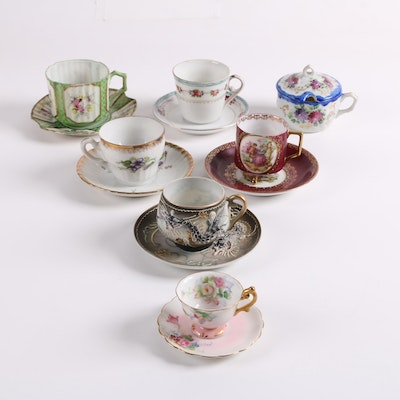 875f3bb5b62 Vintage Japanese Teacups and Saucers Including Moriage Dragonware