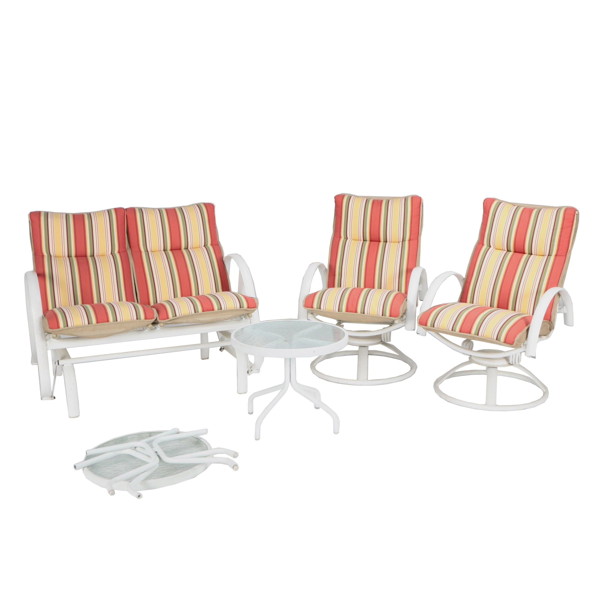 Glider Loveseat with Matching Spring-Rocker Chairs and Glass Top Side Tables