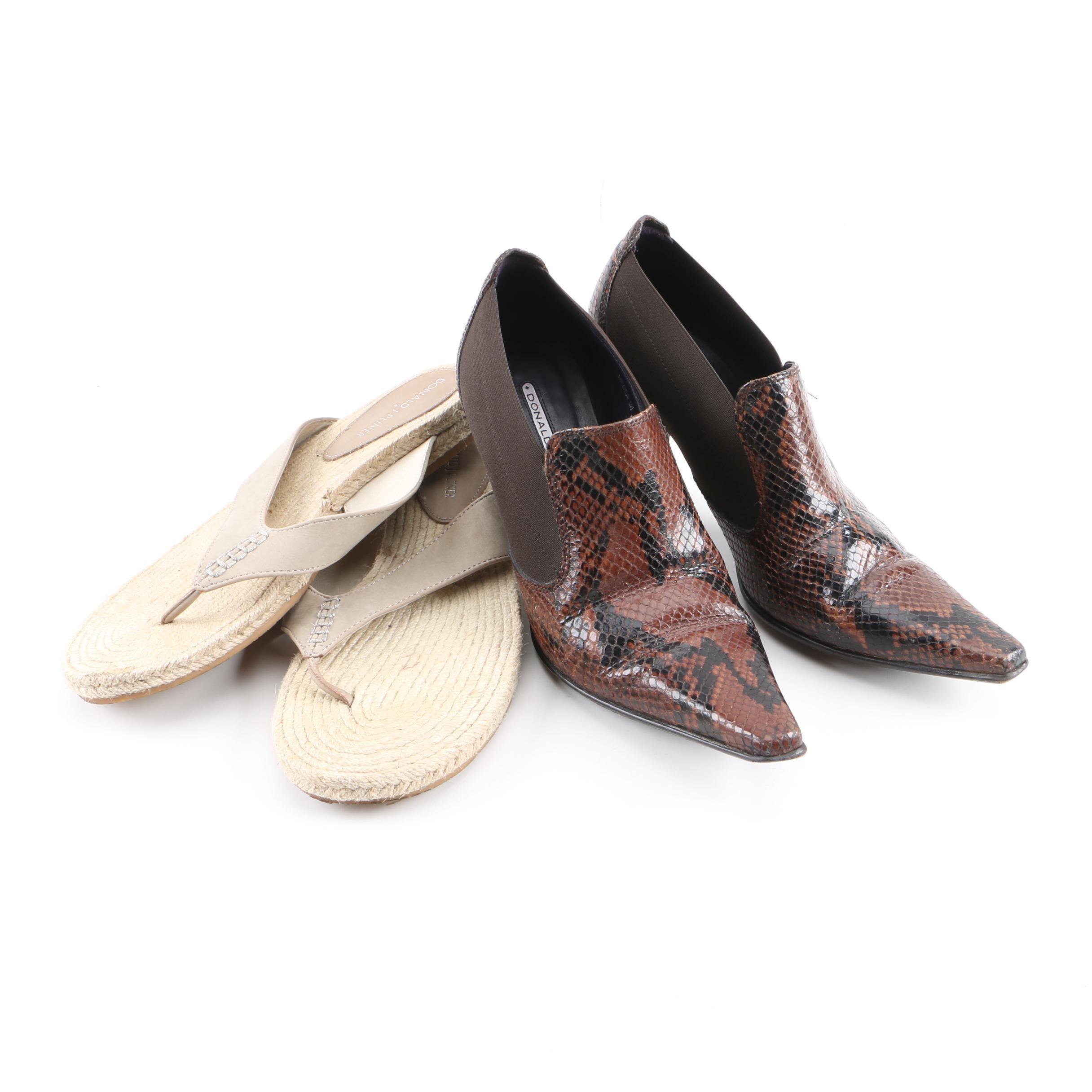 Donald J. Pliner Espadrille Sandals and Embossed Snakeskin Leather Heels