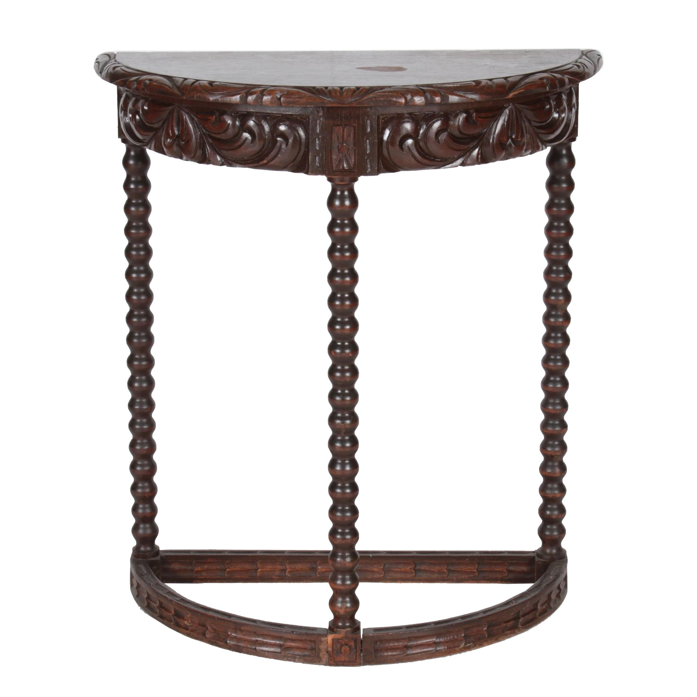 Early 20th Century Spanish Colonial Style Carved Oak Demilune Console Table
