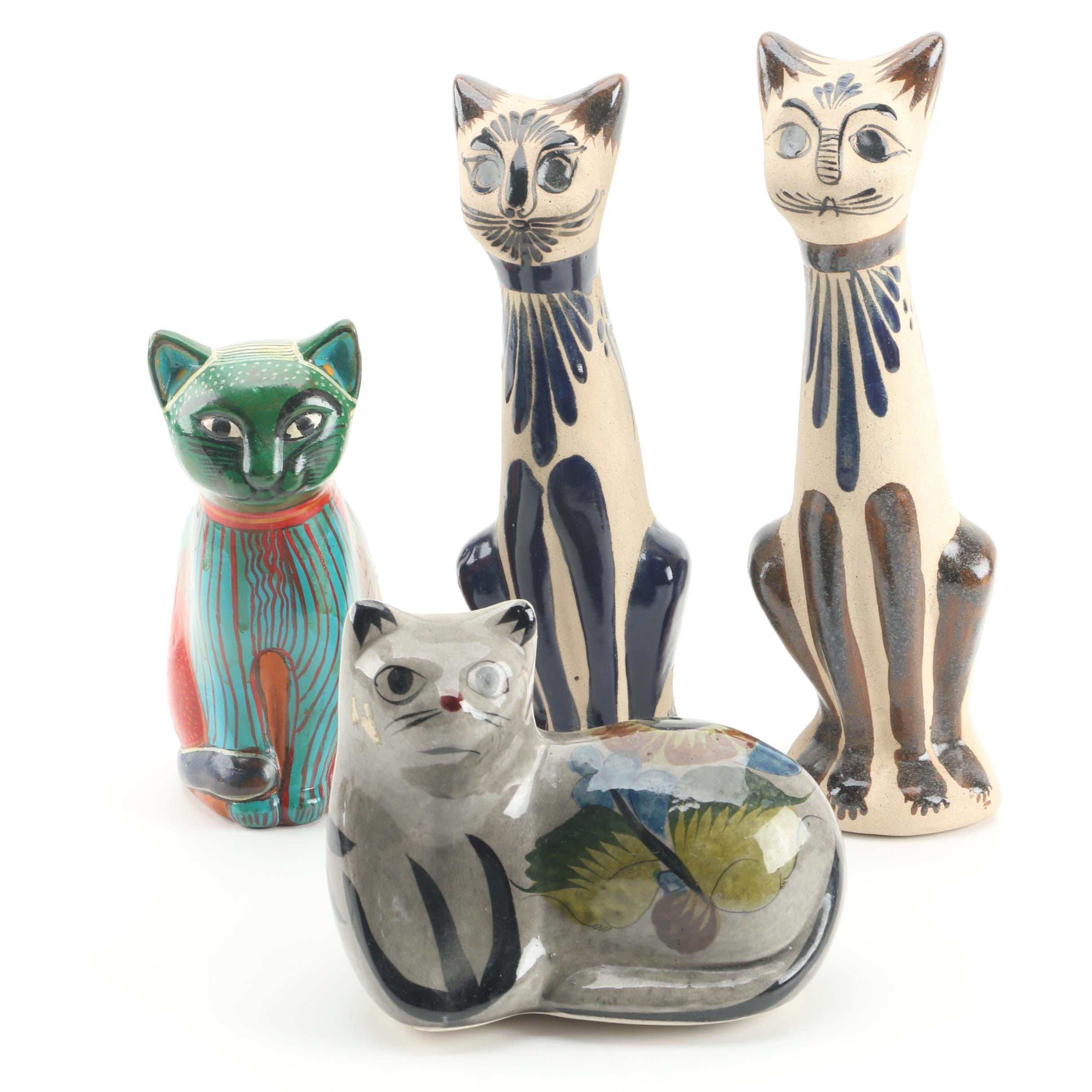 Mexican Hand-Painted Pottery Cat Sculptures