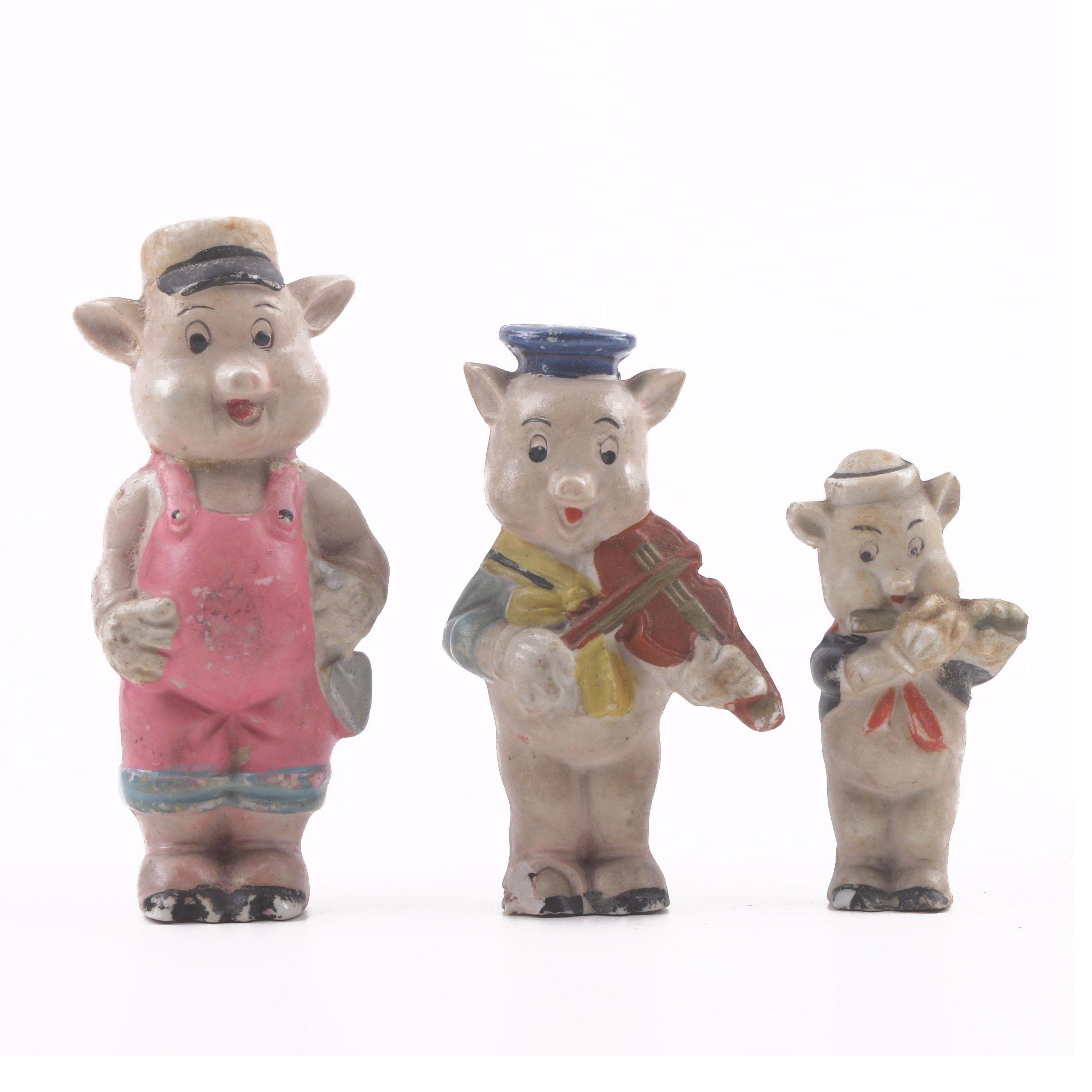 """Vintage Japanese """"Three Little Pigs"""" Porcelain Figurines"""