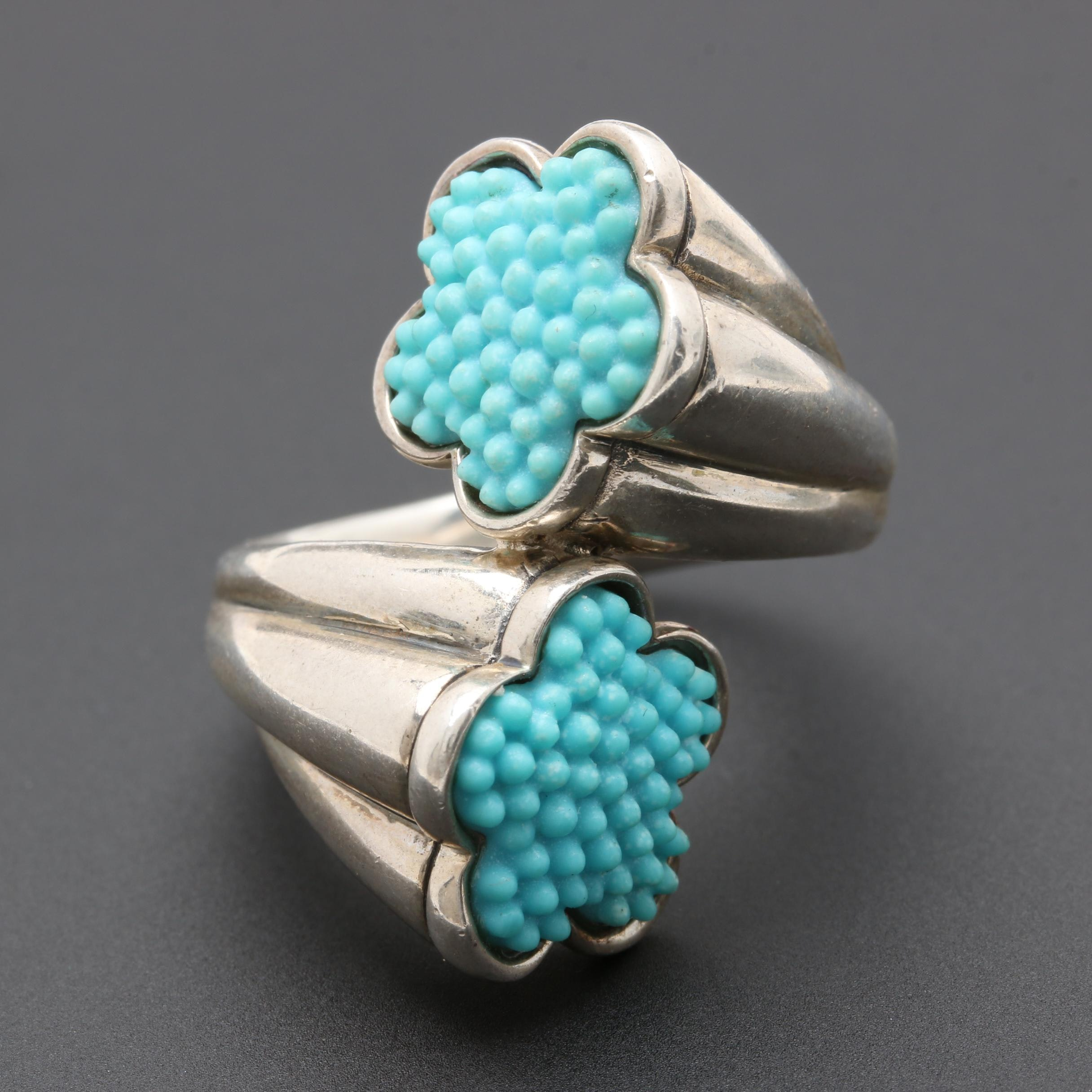 Lagos Sterling Silver Imitation Turquoise Bypass Ring