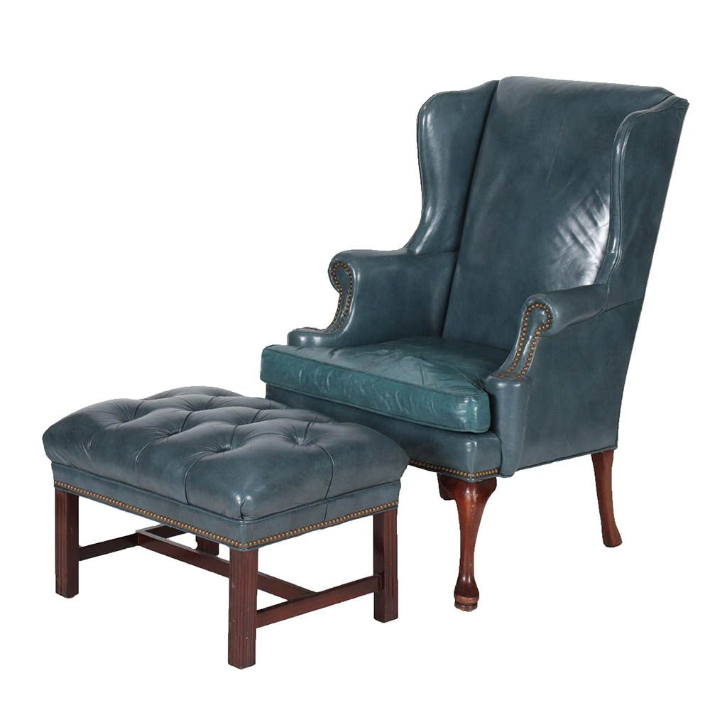 Blue Leather Wing Chair and Ottoman by Hickory Chair Co. and Hancock & Moore