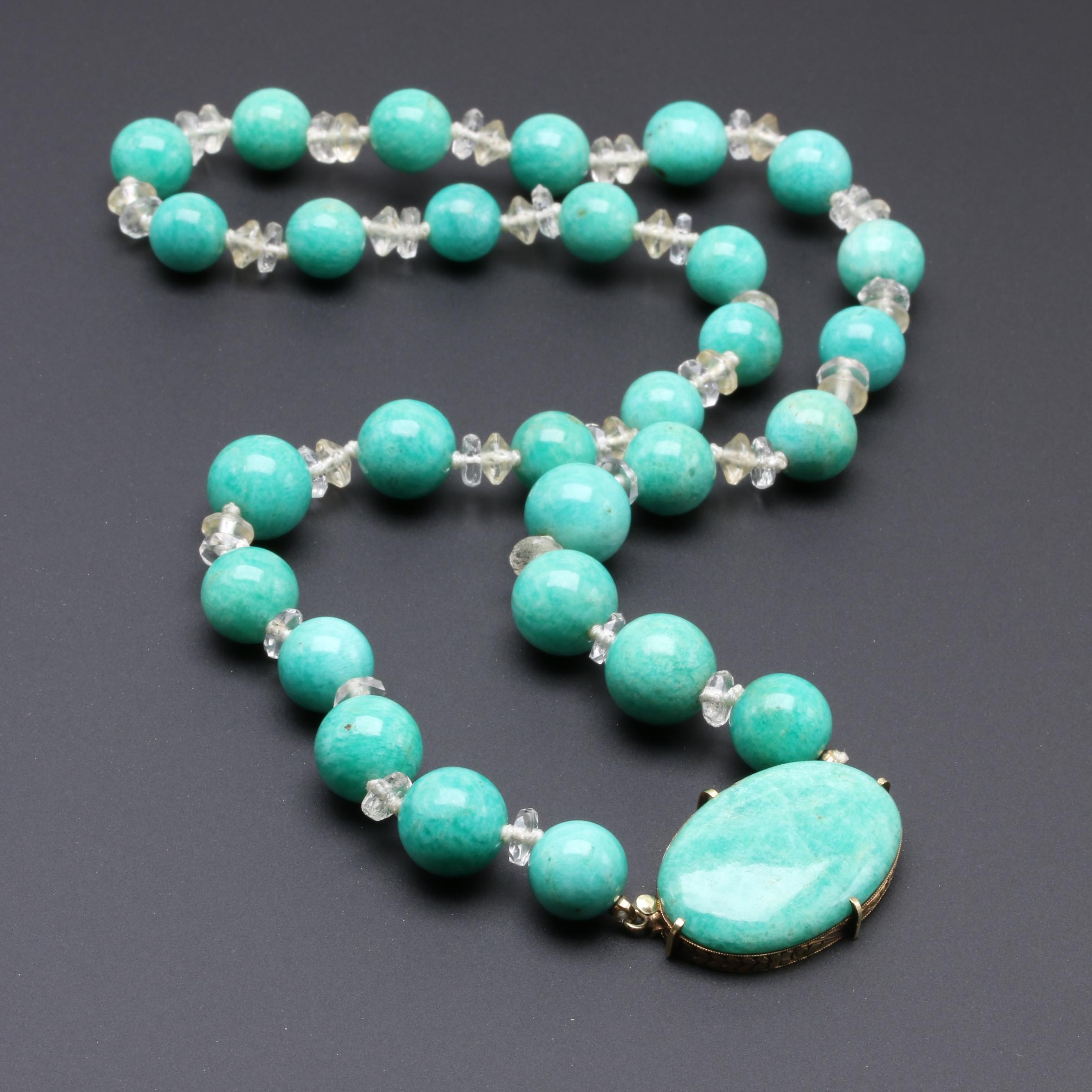 14K Yellow Gold Amazonite and Glass Beaded Necklace