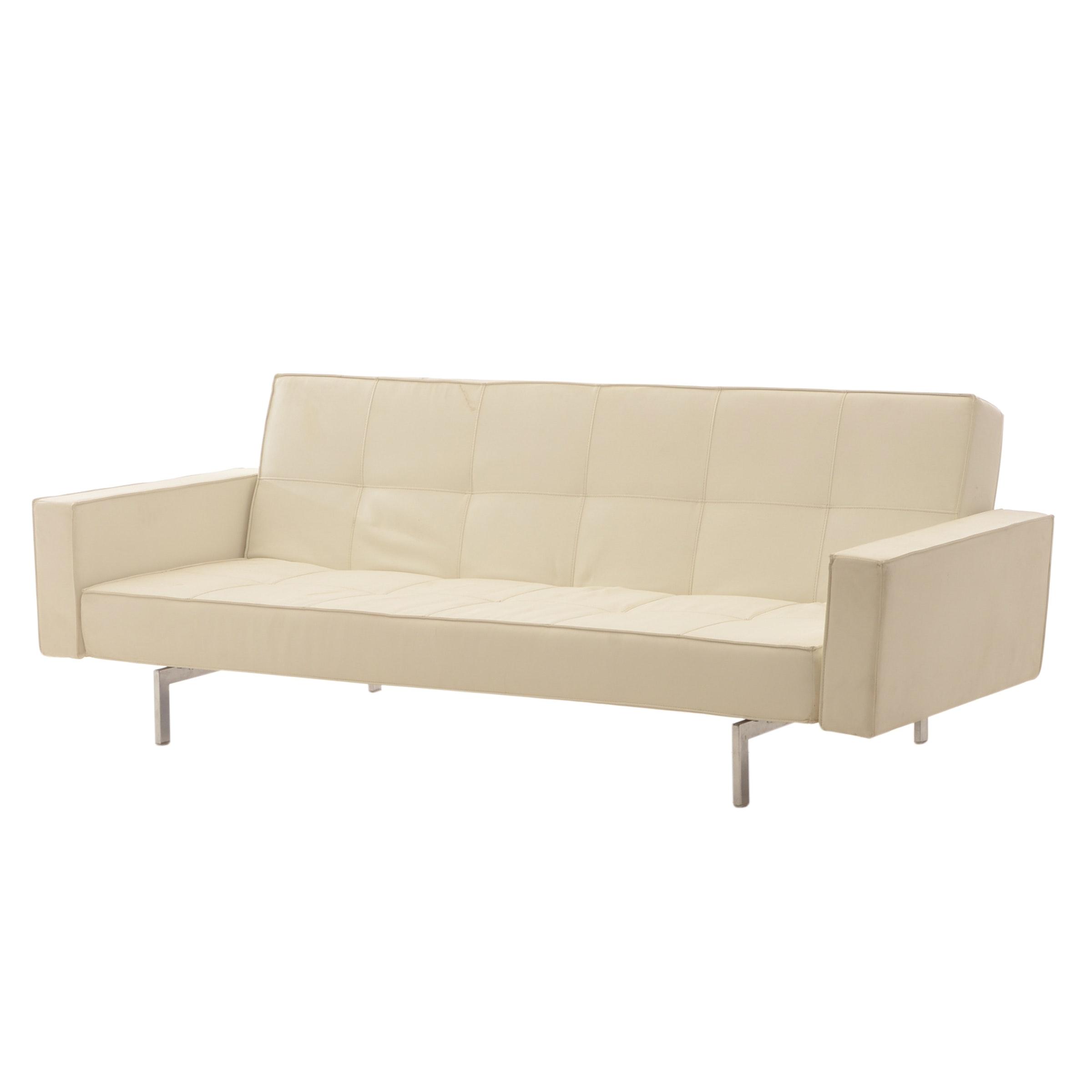 White Vinyl Sofa / Daybed