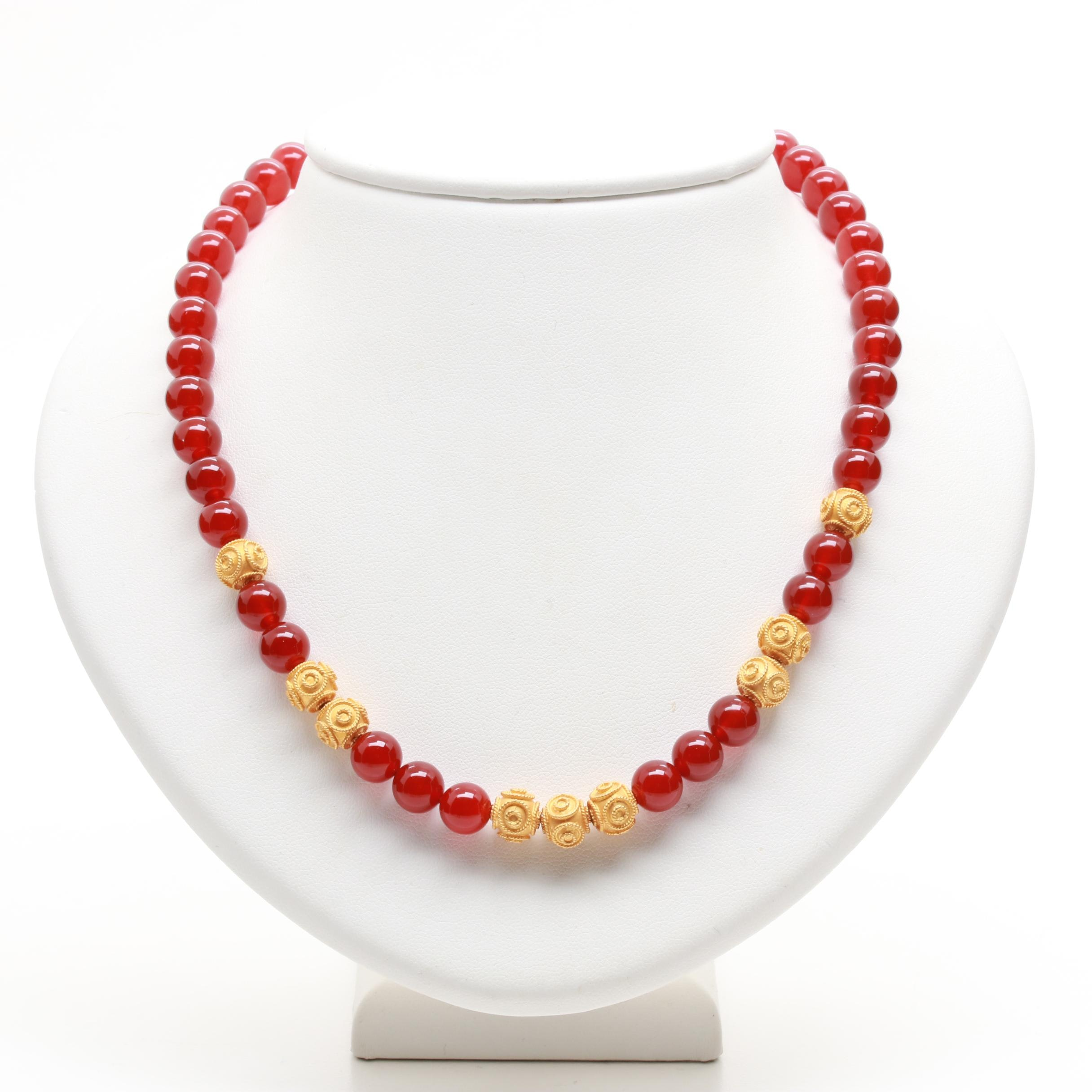 14K and 18K Yellow Gold and Carnelian Beaded Necklace