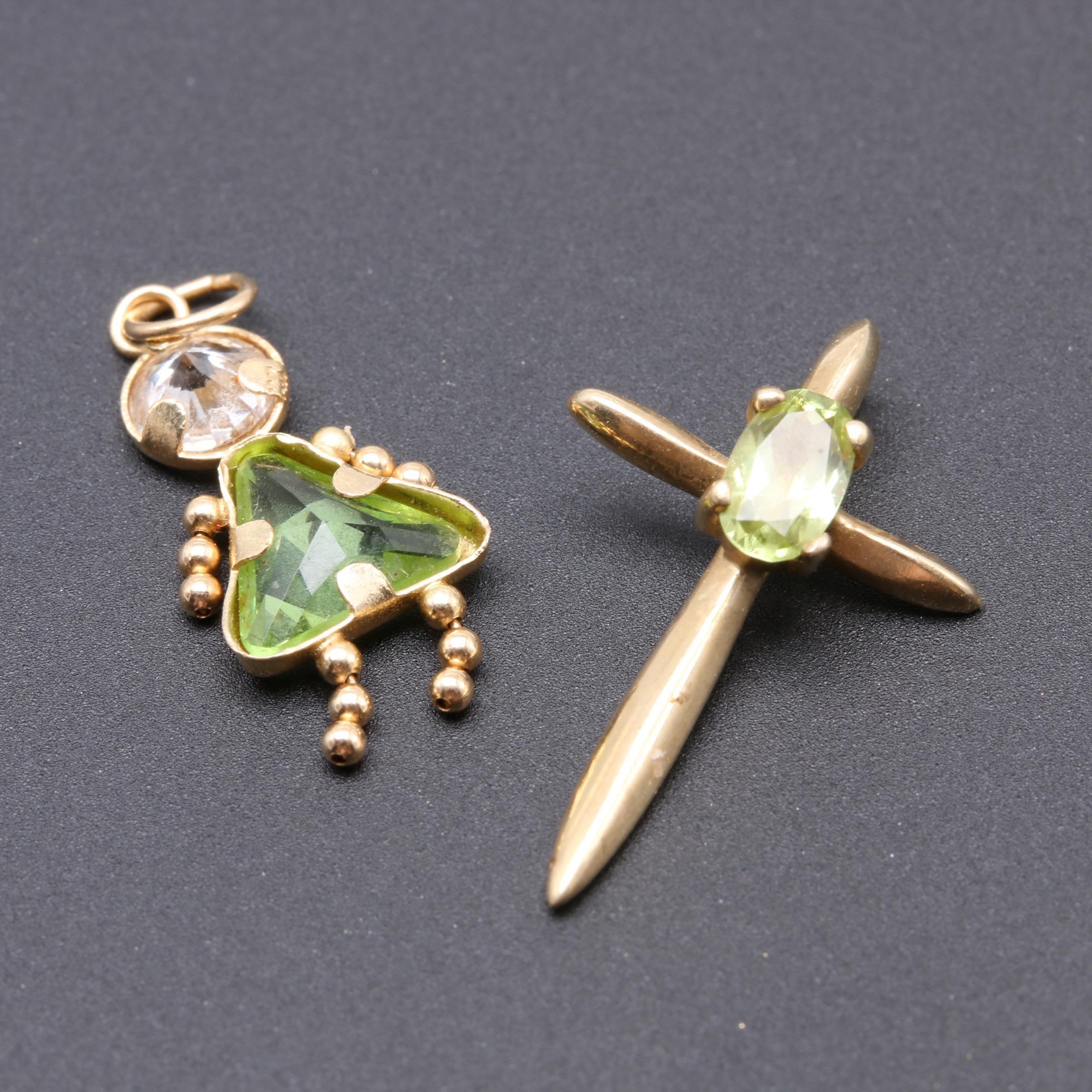 10K Yellow Gold Peridot Cross and 14K Cubic Zirconia and Glass Girl Pendant